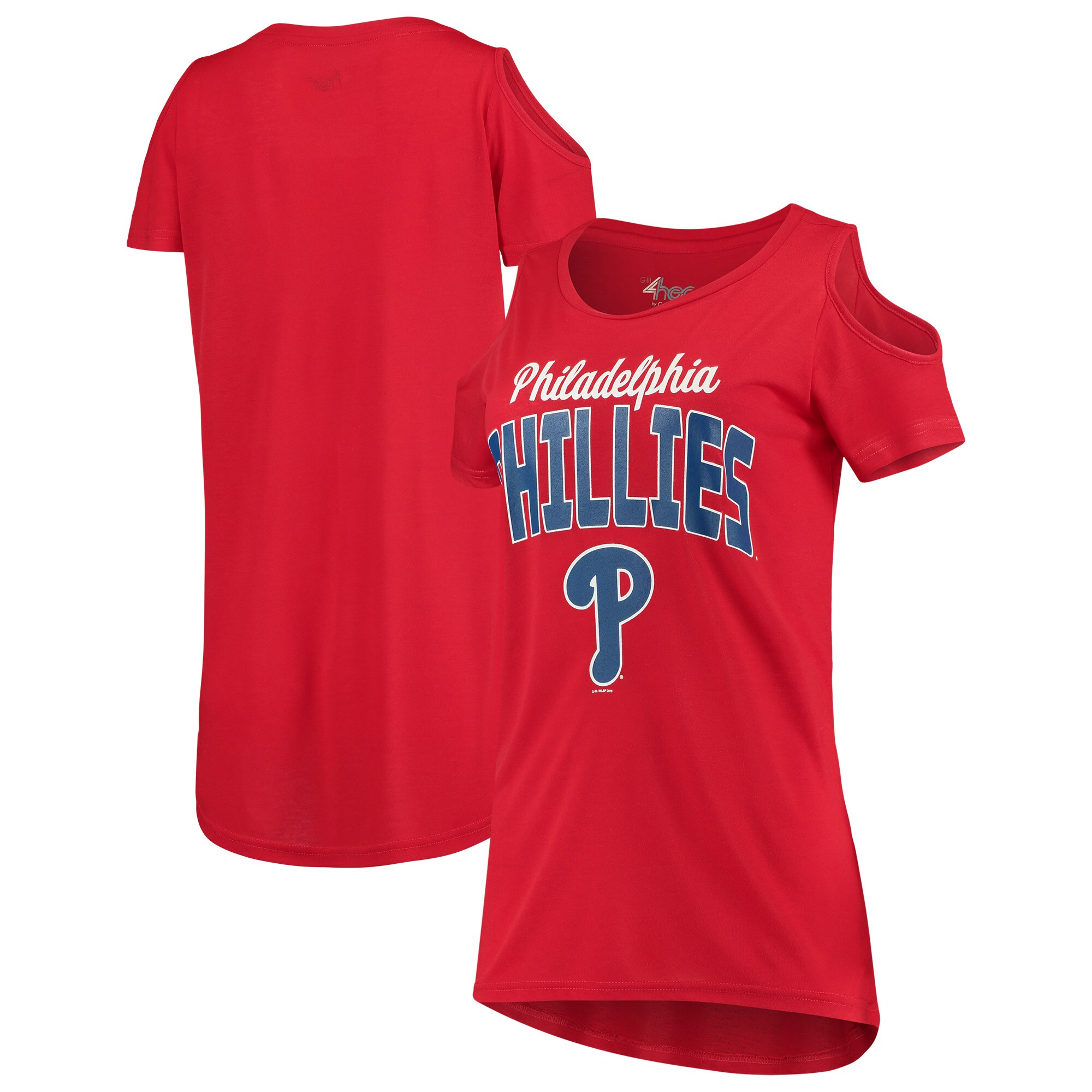 Philadelphia Phillies G-III 4Her by Carl Banks Women's Clear the Bases Cold Shoulder T-Shirt - Red