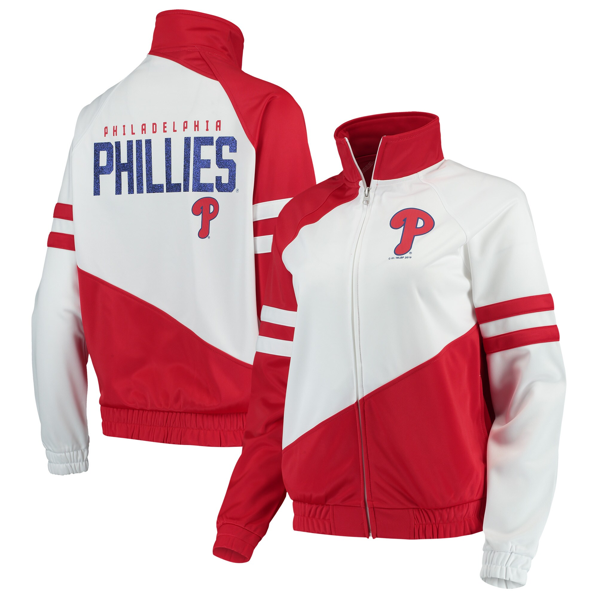 Philadelphia Phillies G-III 4Her by Carl Banks Women's Perfect Pitch Track Jacket - Red/White