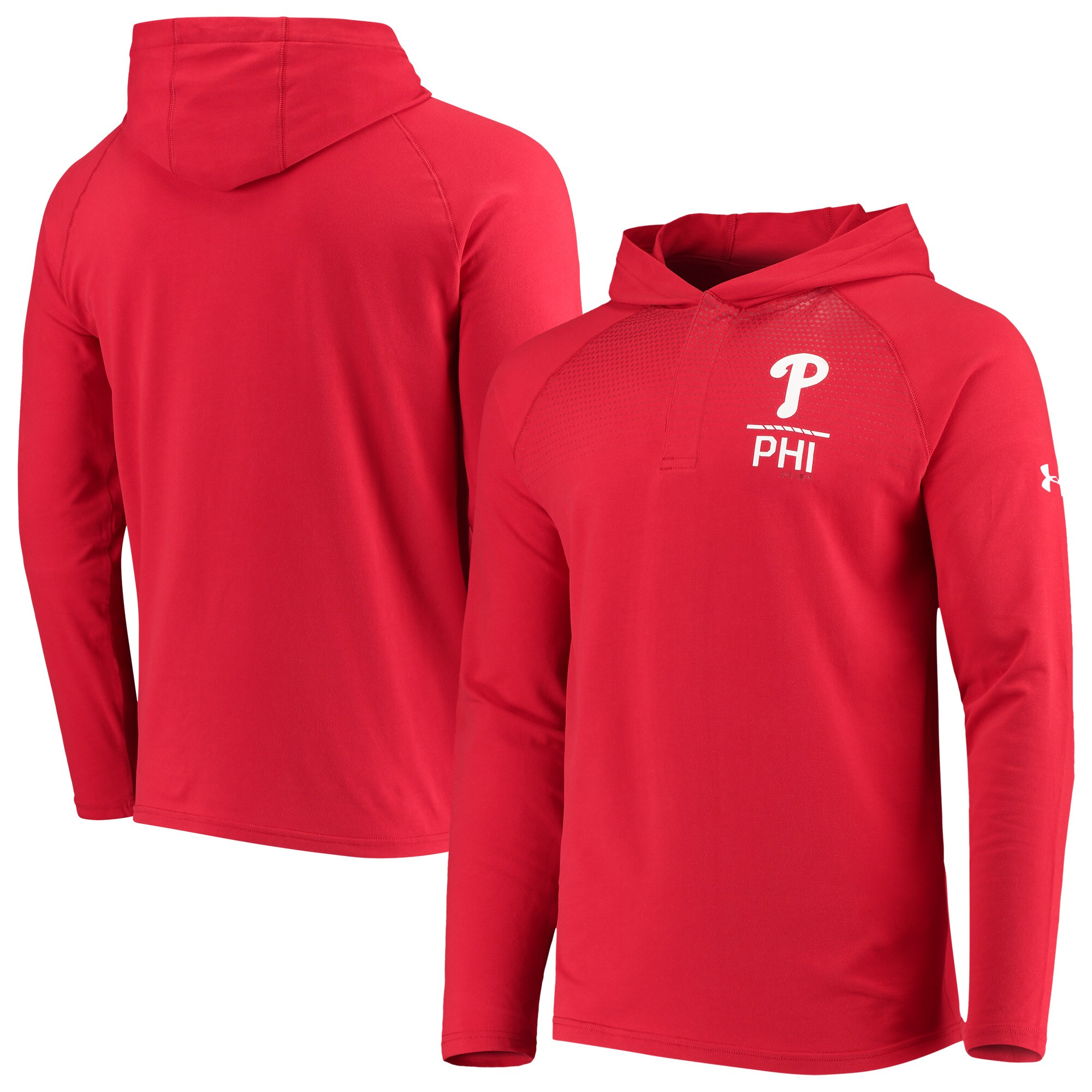 Philadelphia Phillies Under Armour Henley Performance Raglan Tri-Blend Pullover Hoodie - Red