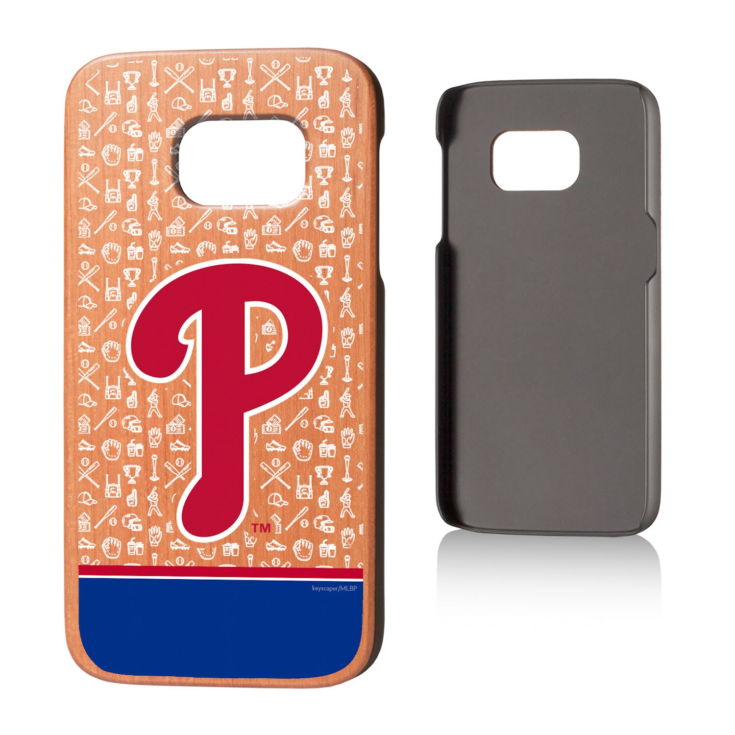 Philadelphia Phillies Galaxy S7 Stripe Logo Cherry Wood Case