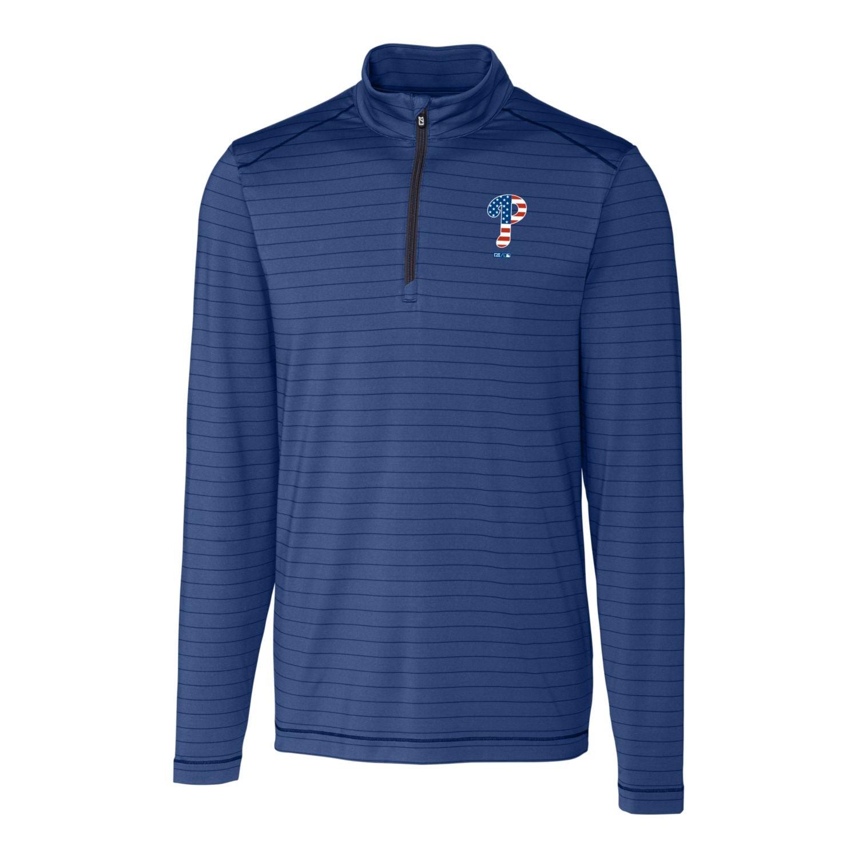 Philadelphia Phillies Cutter & Buck Stars & Stripes Holman Stripe Half-Zip Pullover Jacket - Navy