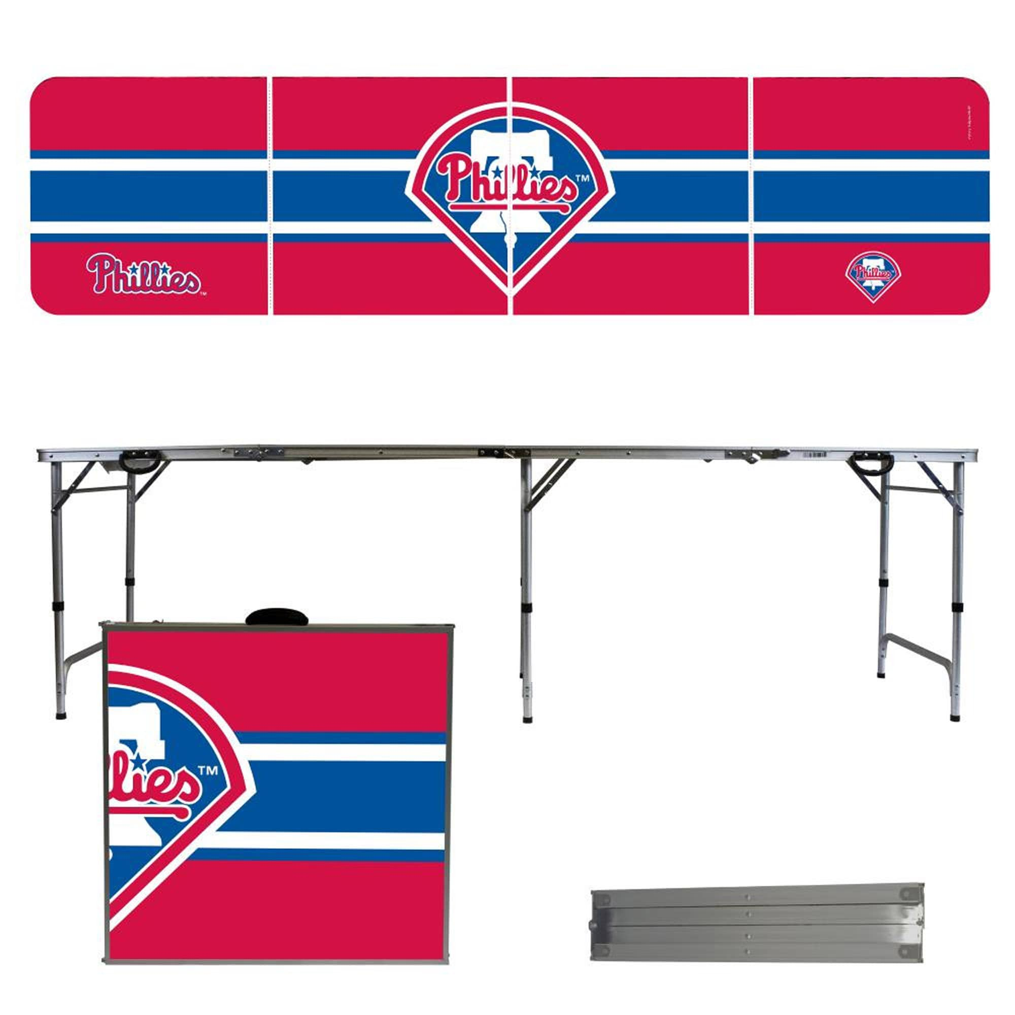 Philadelphia Phillies Striped Design 8' Portable Folding Tailgate Table