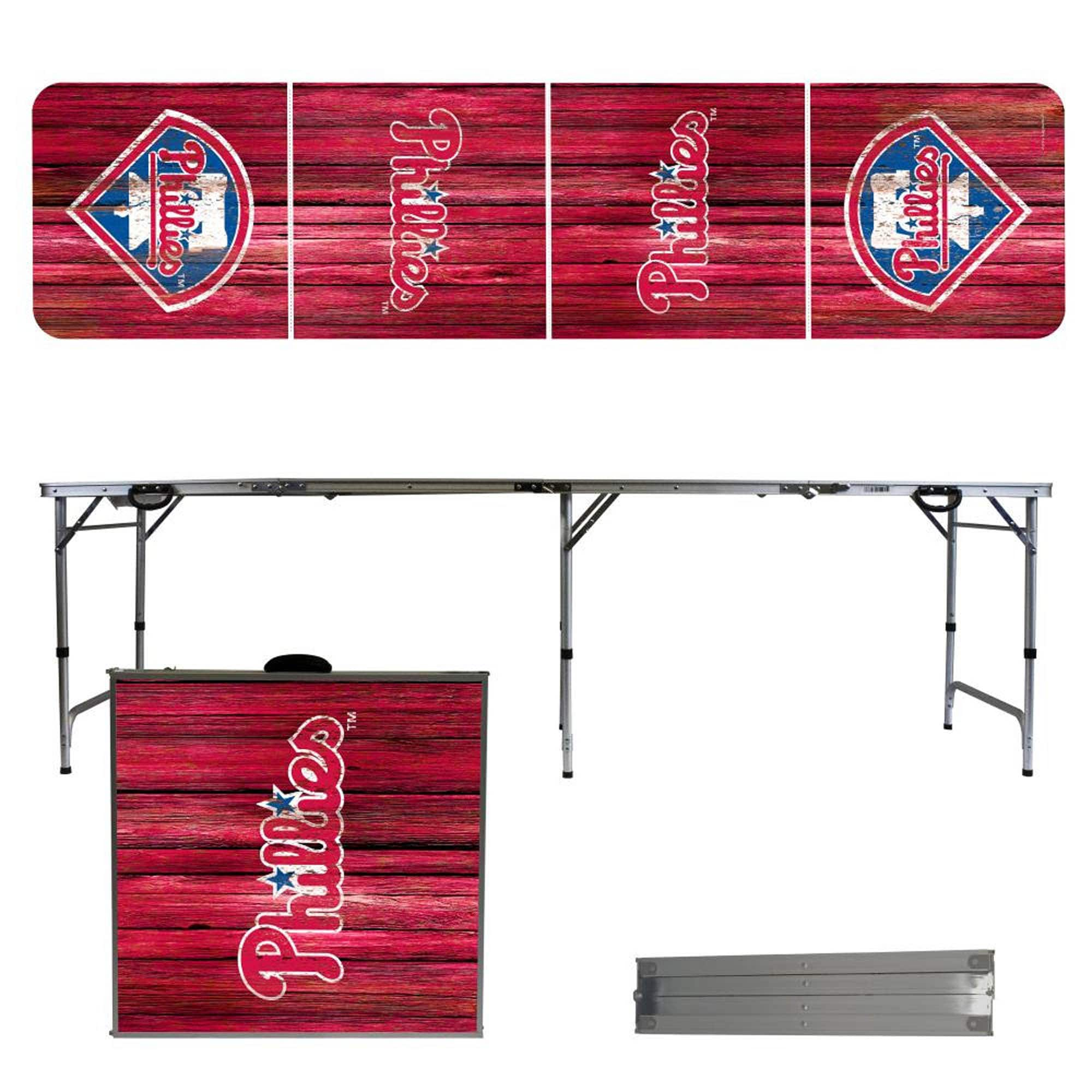 Philadelphia Phillies Weathered Design 8' Portable Folding Tailgate Table
