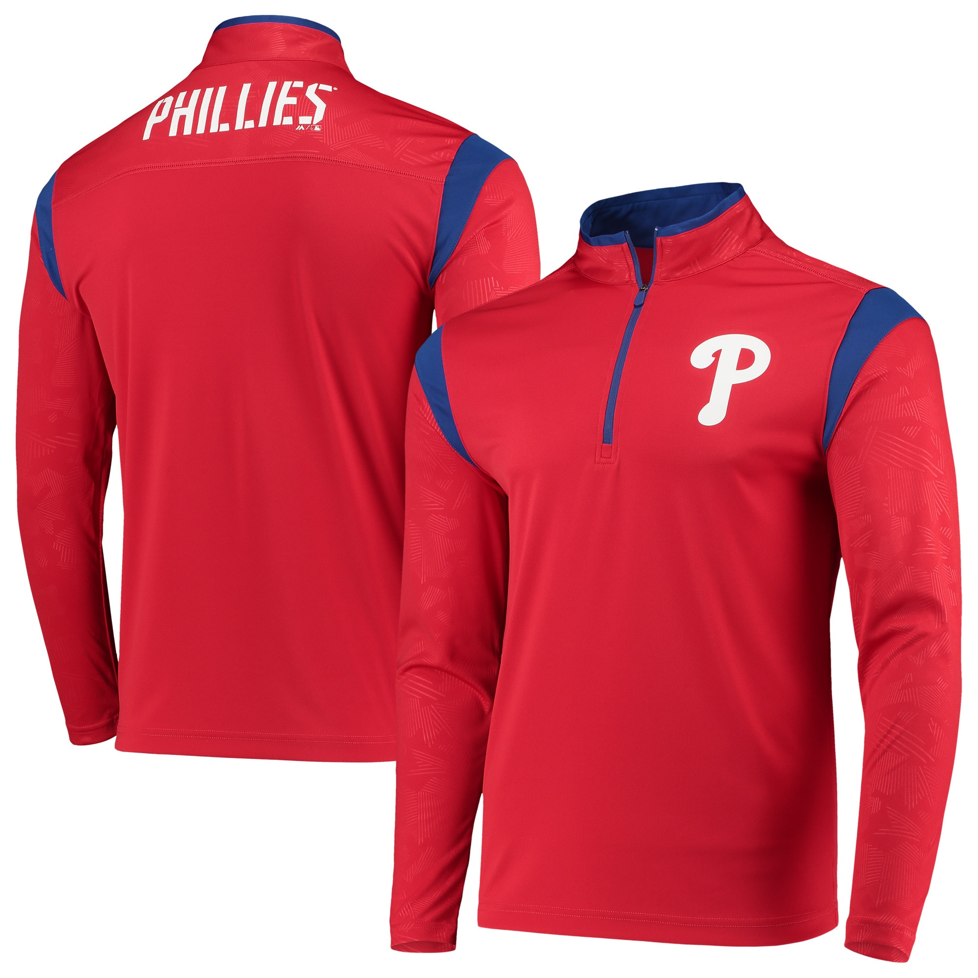 Philadelphia Phillies Fanatics Branded Defender Primary Half-Zip Pullover Jacket - Red