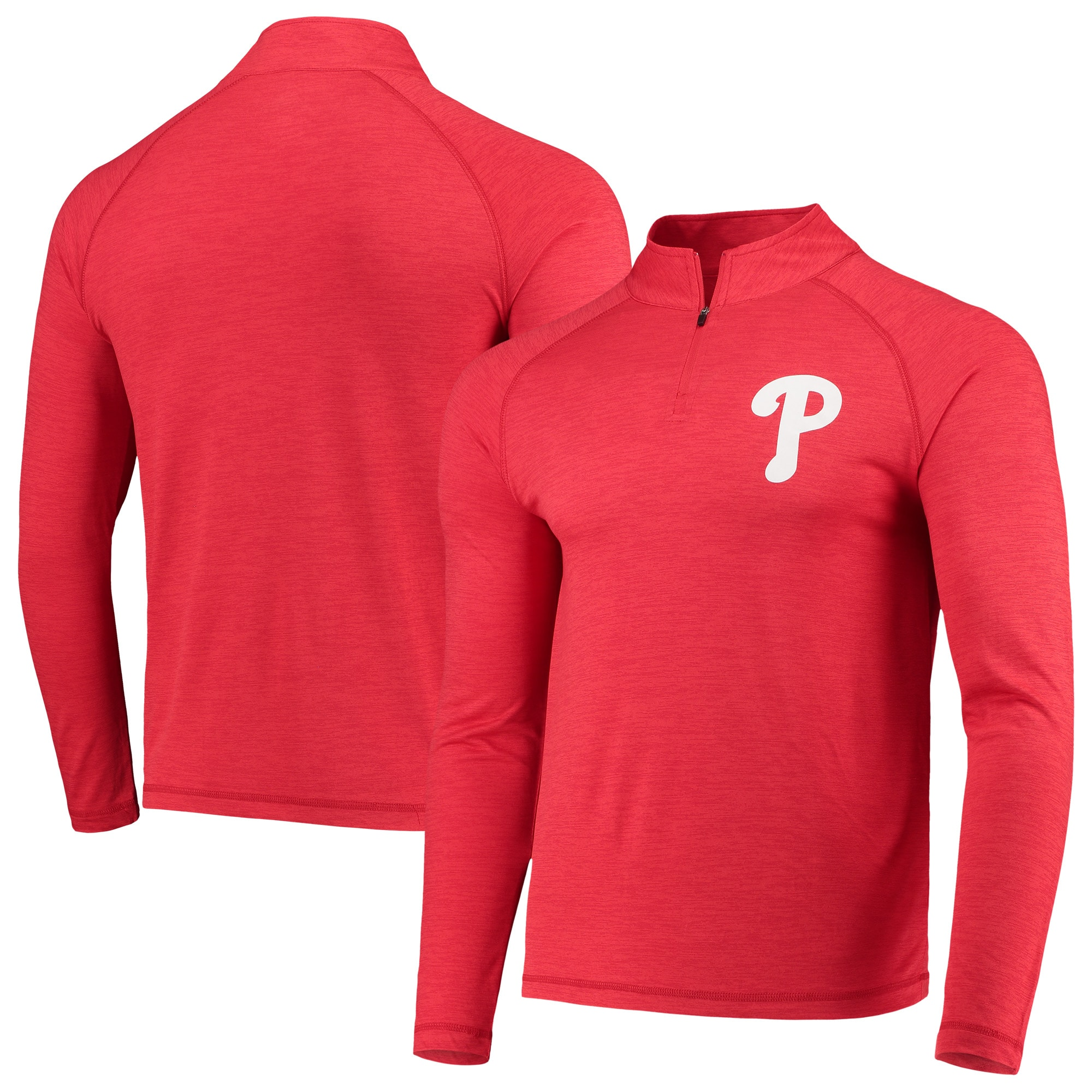 Philadelphia Phillies Majestic Striated Primary Logo Cool Base Raglan Quarter-Zip Pullover Jacket - Heathered Red