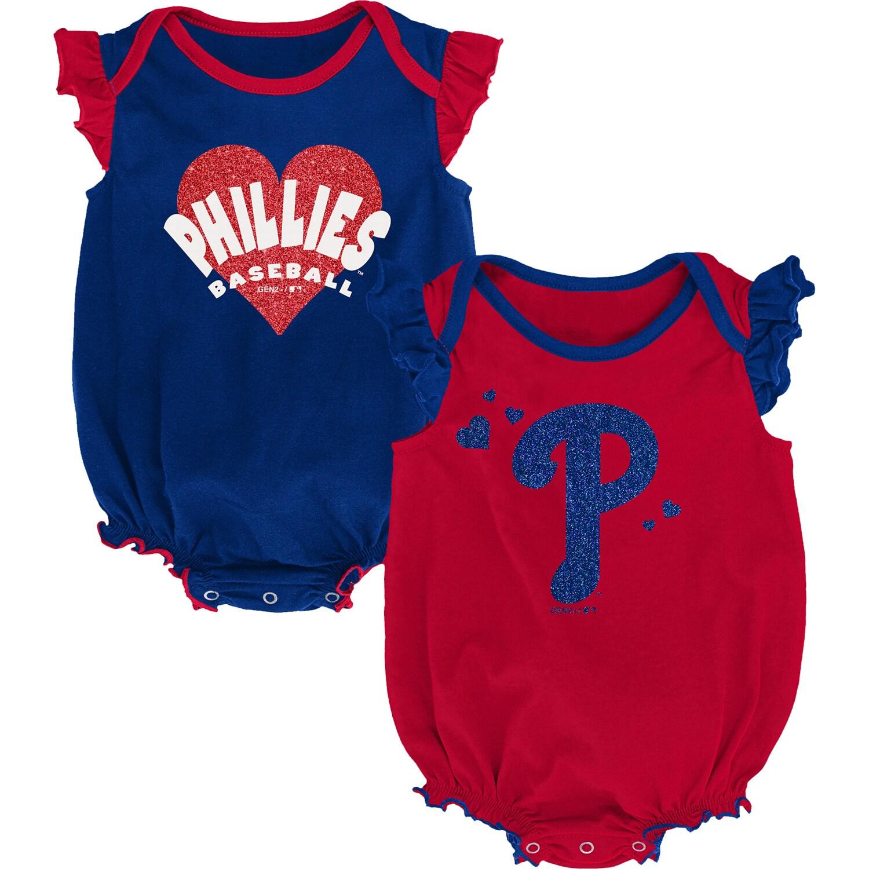 Philadelphia Phillies Girls Newborn & Infant Double Trouble Two-Pack Bodysuit Set - Red/Royal