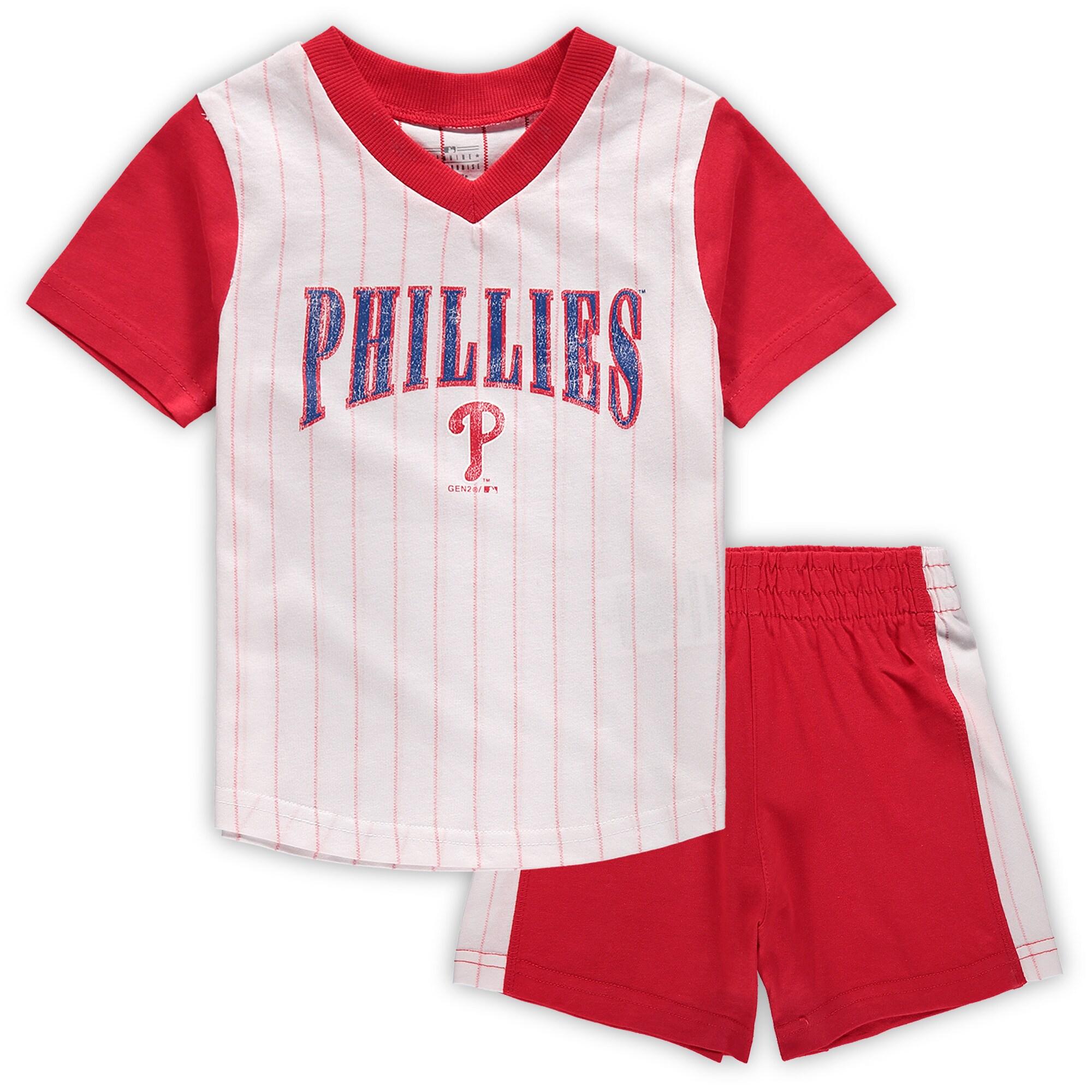 Philadelphia Phillies Toddler Little Hitter V-Neck T-Shirt & Shorts Set - White/Red