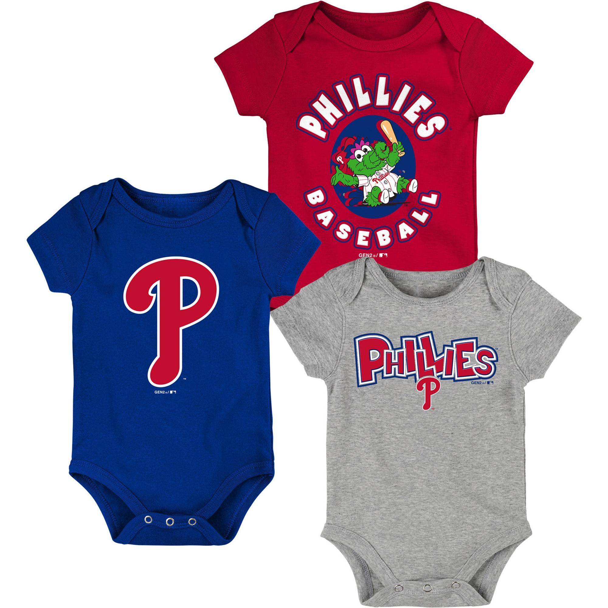 Philadelphia Phillies Infant Everyday Fan Three-Pack Bodysuit Set - Red/Royal/Heathered Gray