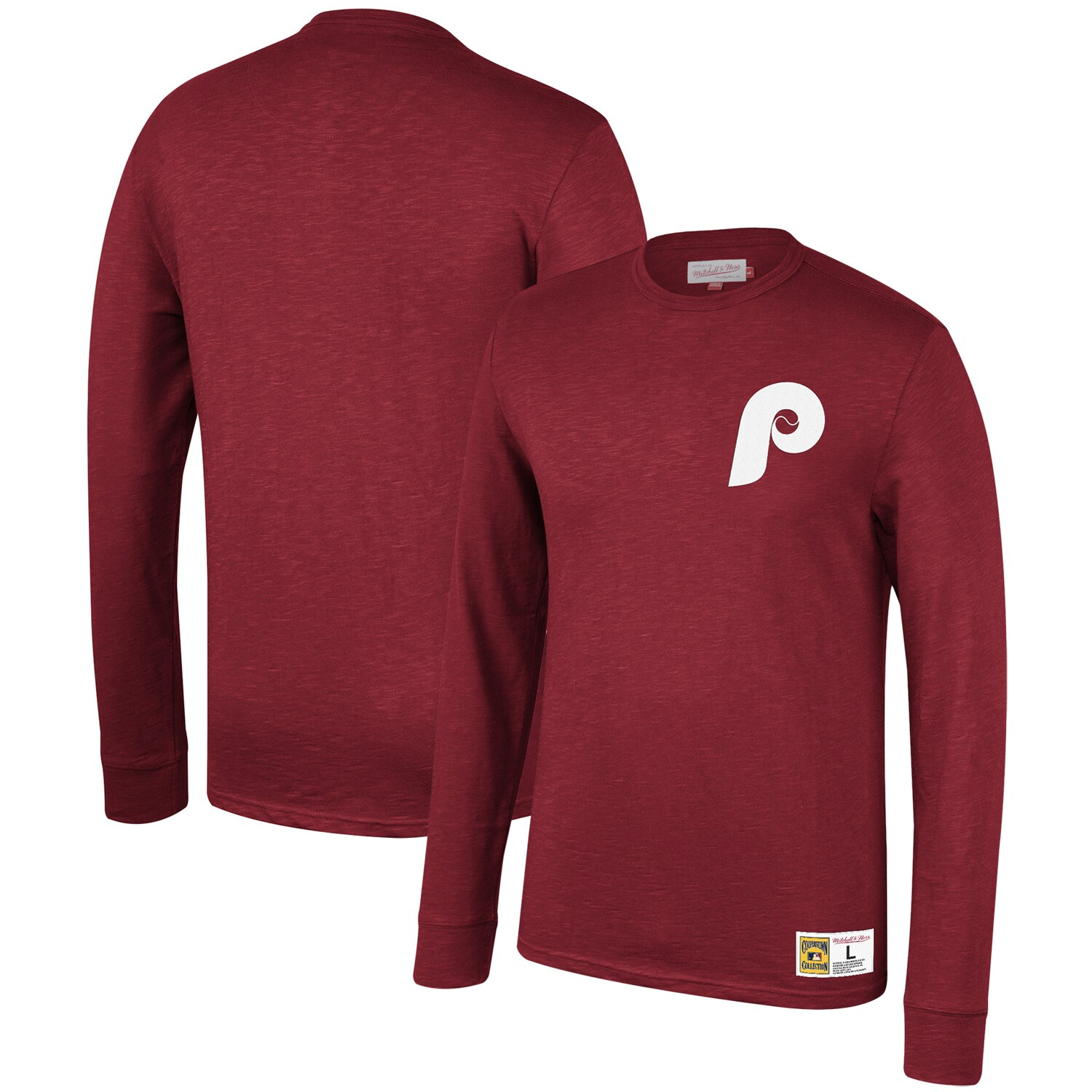 Philadelphia Phillies Mitchell & Ness Cooperstown Collection Slub Long Sleeve T-Shirt - Maroon