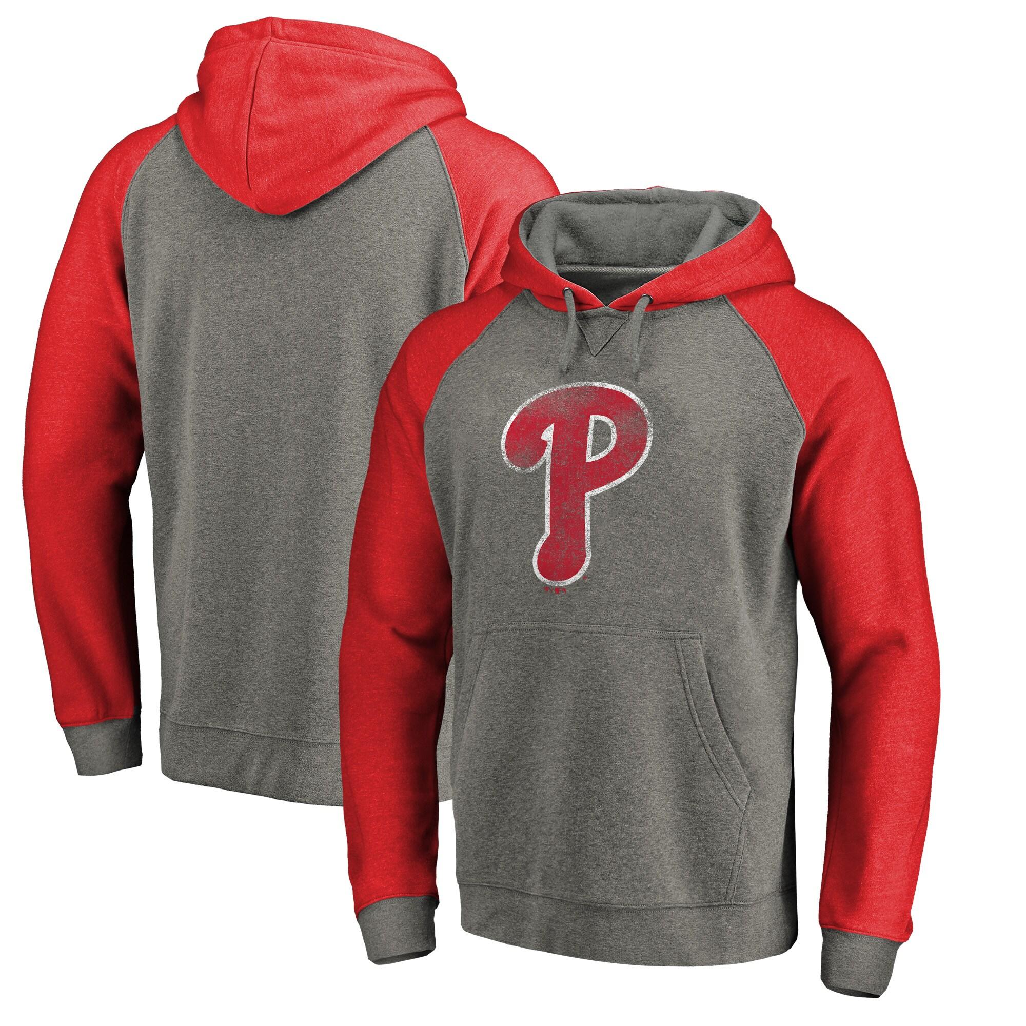 Philadelphia Phillies Fanatics Branded Distressed Team Logo Tri-Blend Raglan Pullover Hoodie - Gray/Red