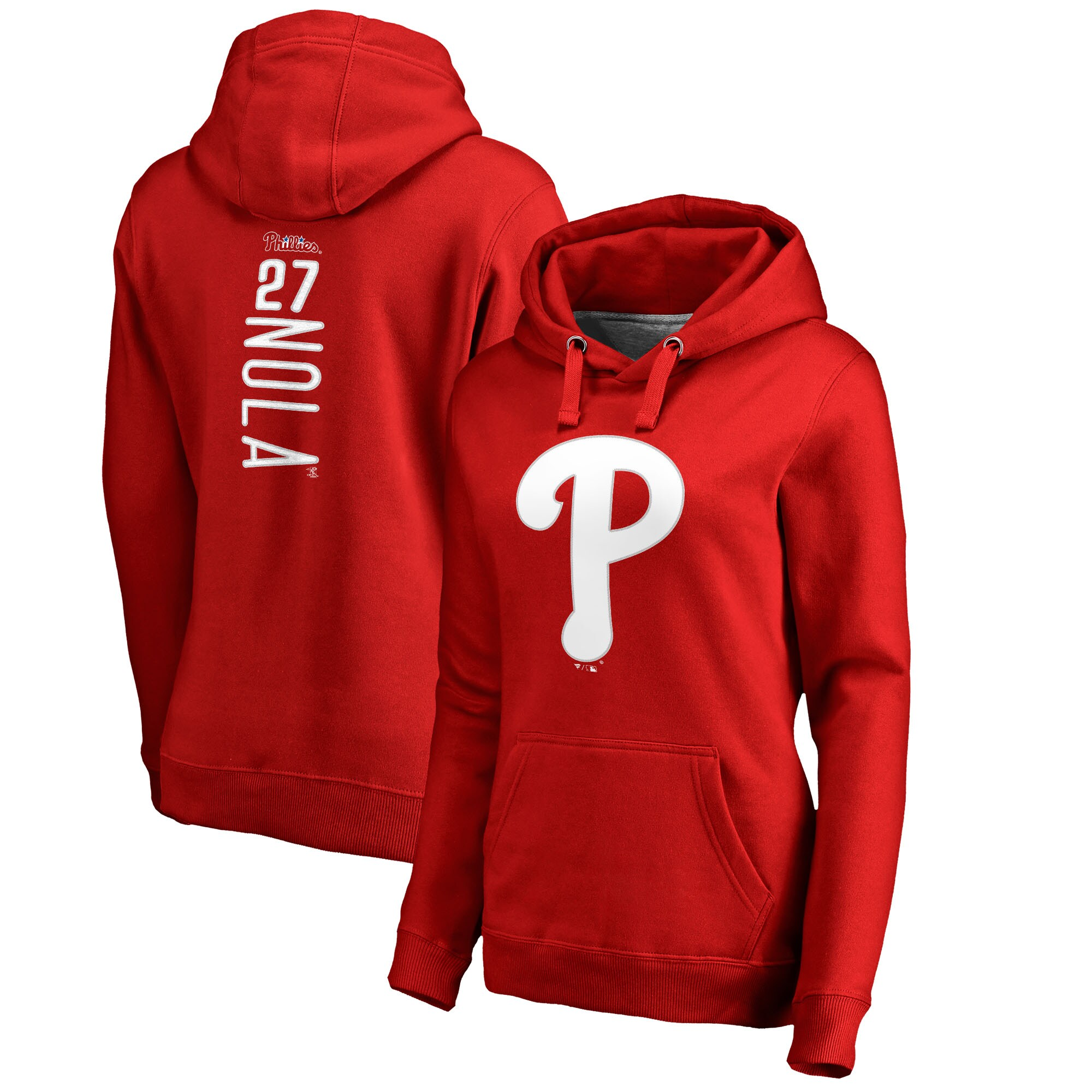 Aaron Nola Philadelphia Phillies Fanatics Branded Women's Backer Pullover Hoodie - Red