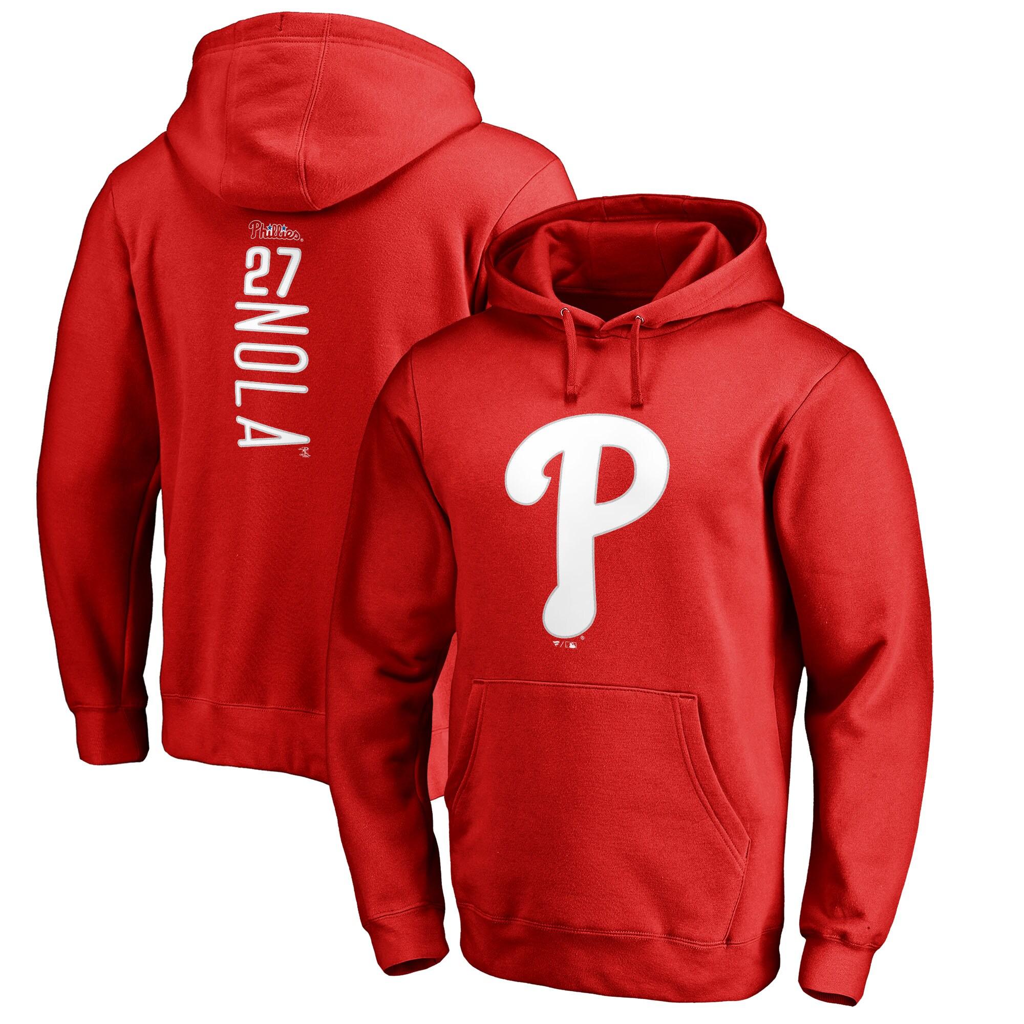 Aaron Nola Philadelphia Phillies Fanatics Branded Backer Pullover Hoodie - Red