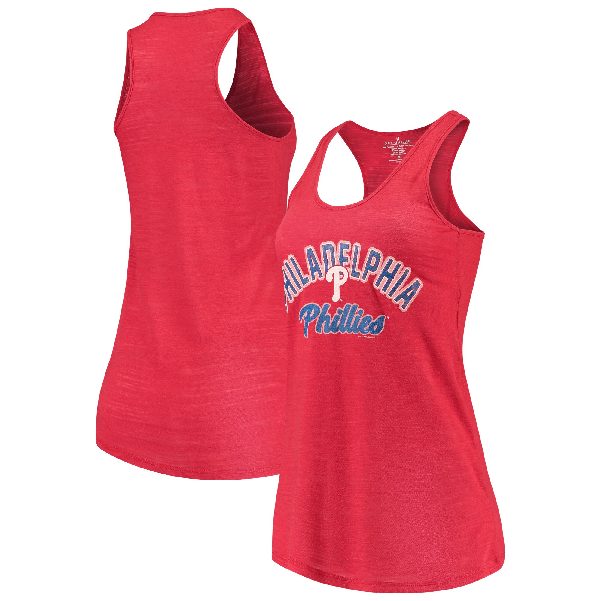 Philadelphia Phillies Soft as a Grape Women's Multicount Racerback Tank Top - Red