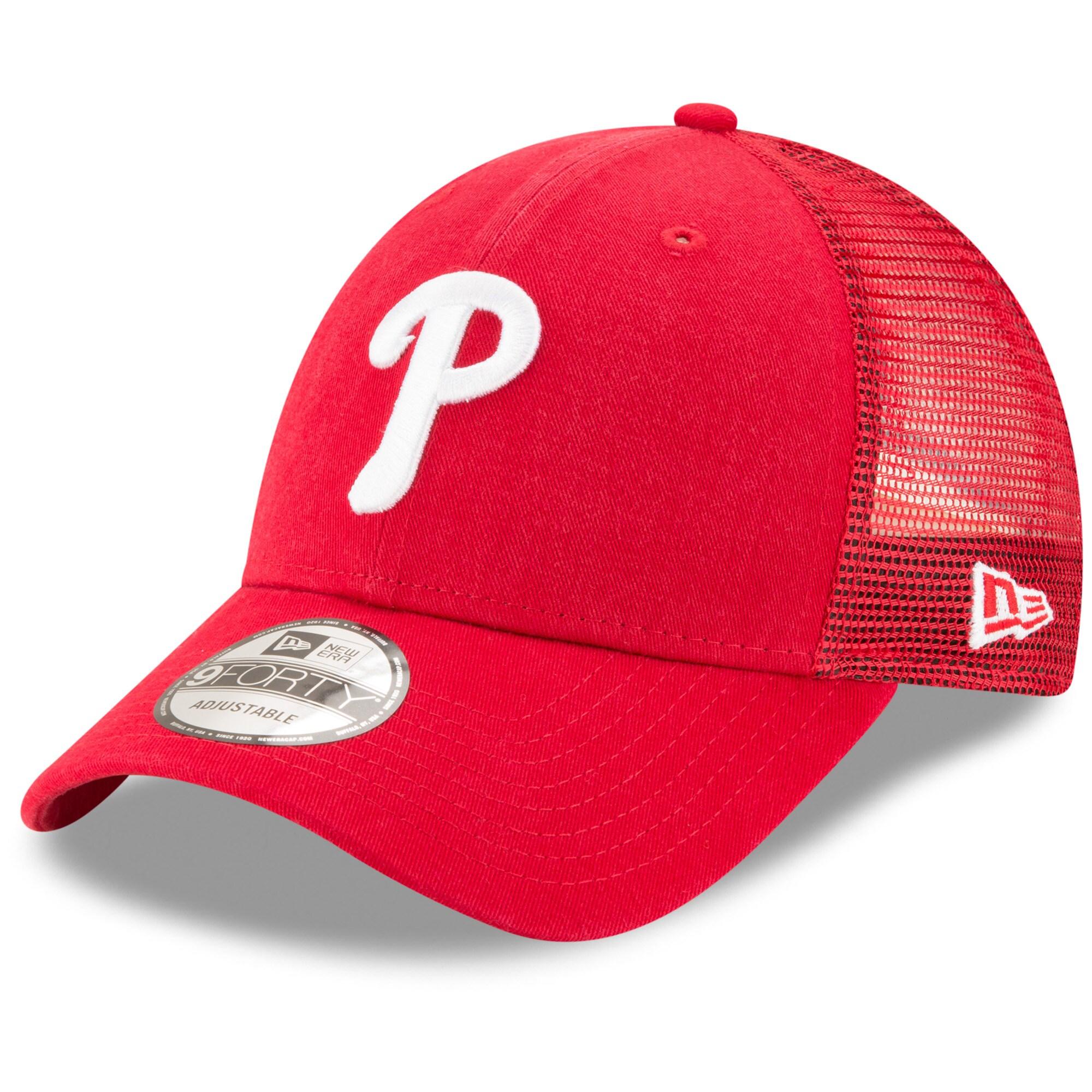 Philadelphia Phillies New Era Trucker 9FORTY Adjustable Snapback Hat - Red