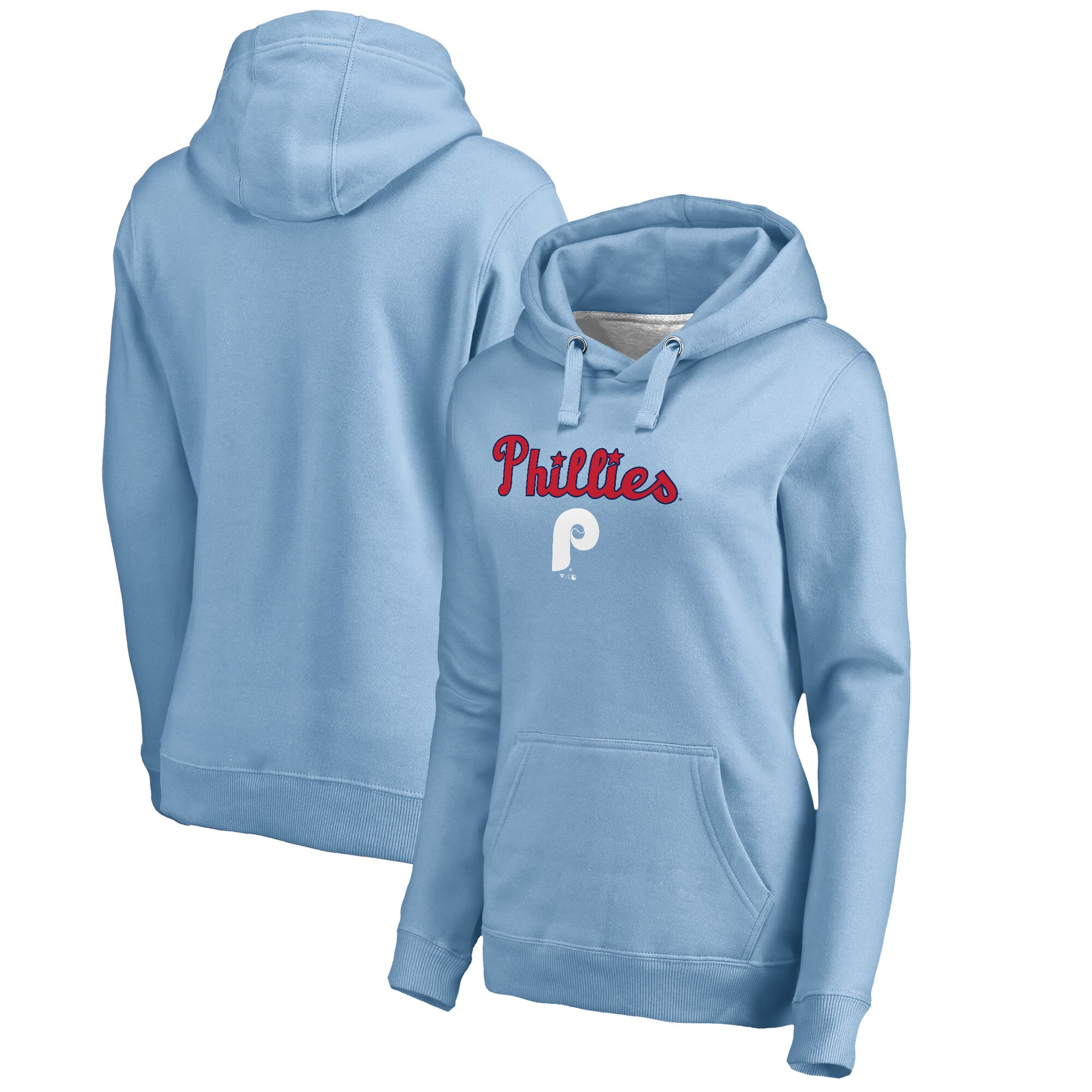 Philadelphia Phillies Fanatics Branded Women's Cooperstown Collection Wahconah Pullover Hoodie - Light Blue