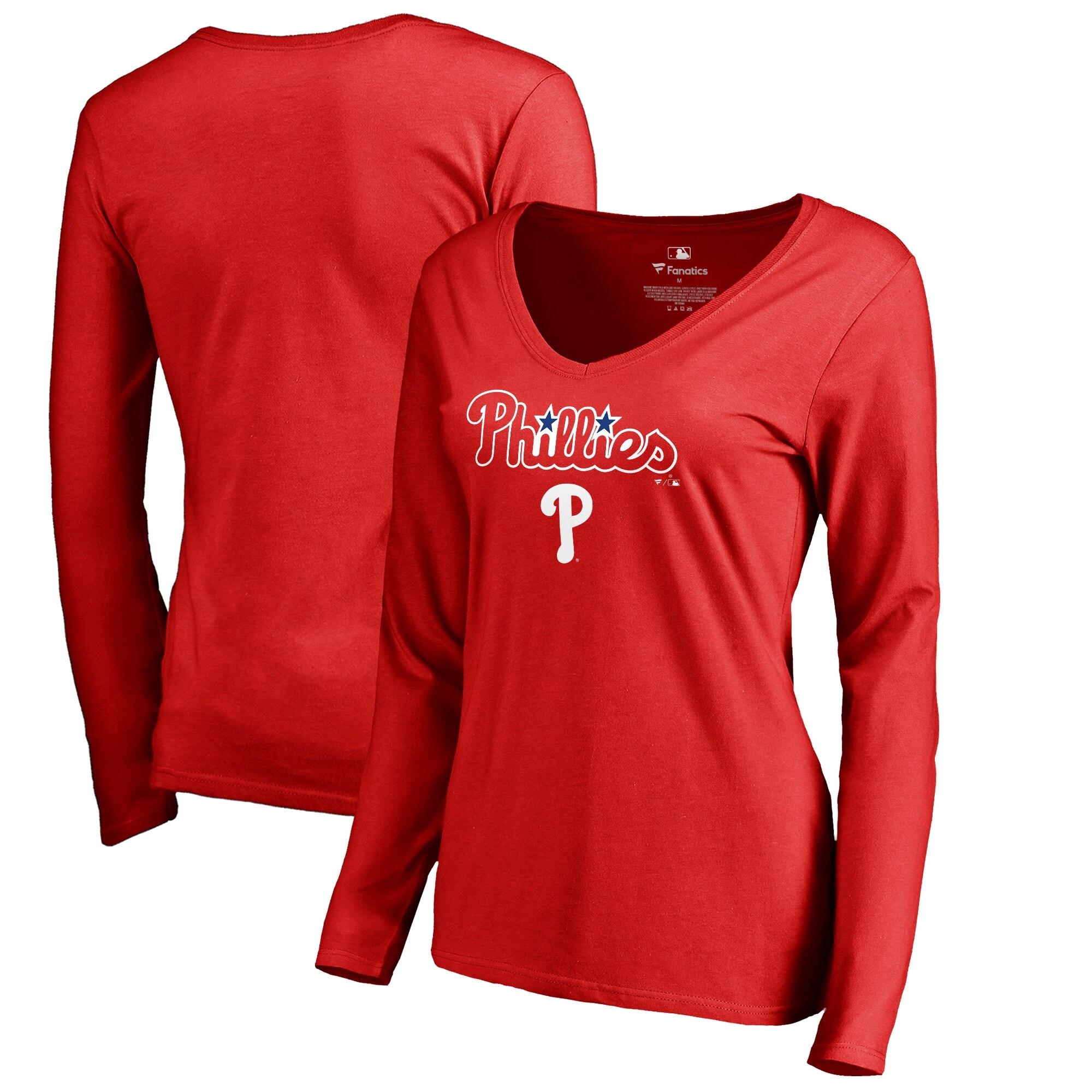Philadelphia Phillies Fanatics Branded Women's Team Lockup Slim Fit Long Sleeve V-Neck T-Shirt - Red