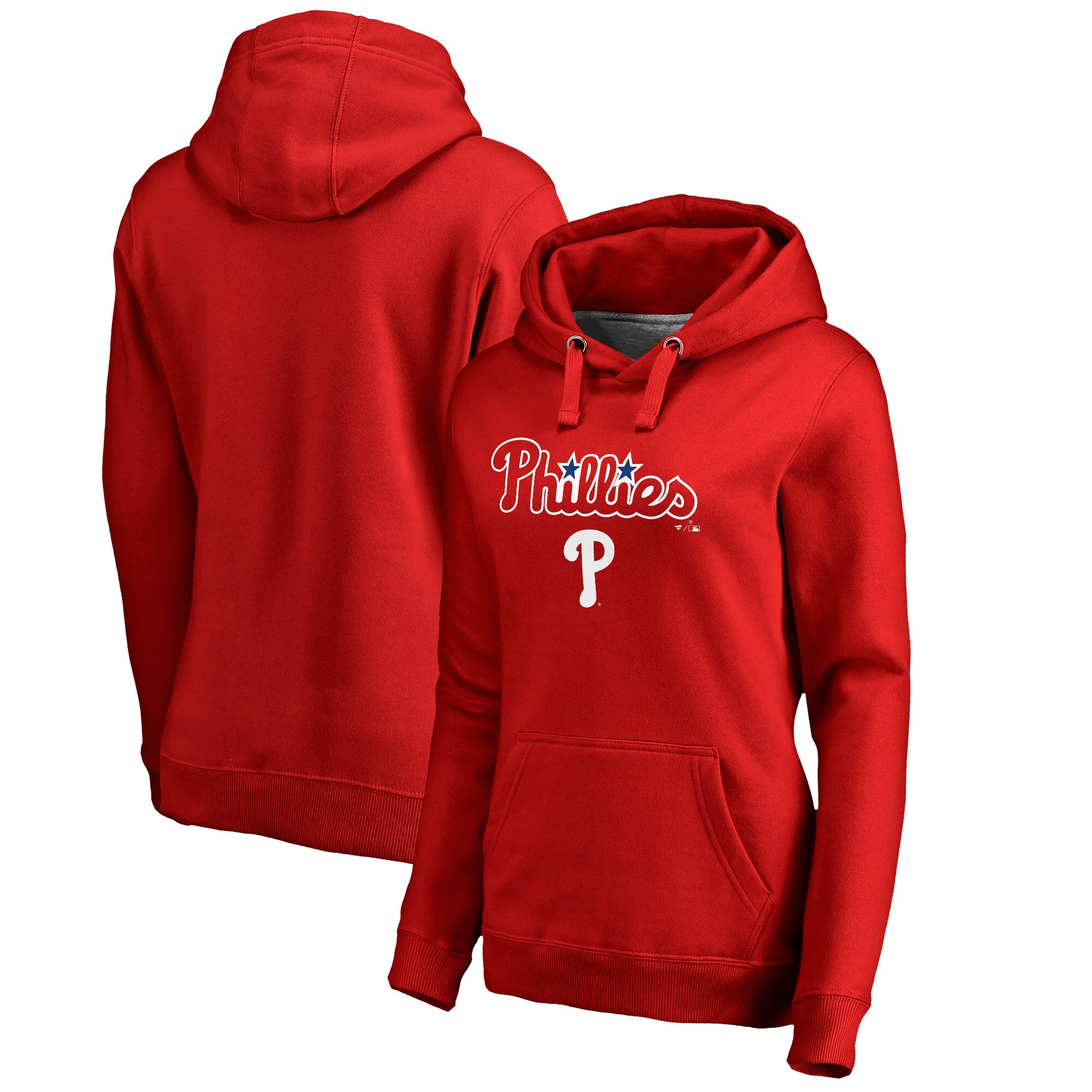 Philadelphia Phillies Fanatics Branded Women's Plus Size Team Lockup Pullover Hoodie - Red