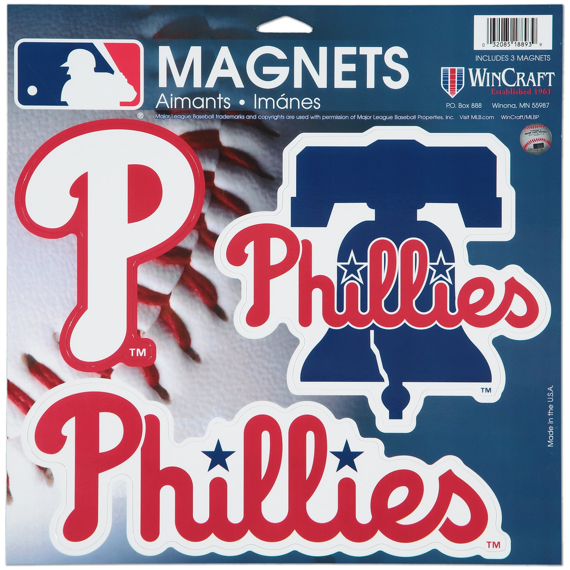 "Philadelphia Phillies WinCraft 11"" X 11"" 3pk Car Magnets"