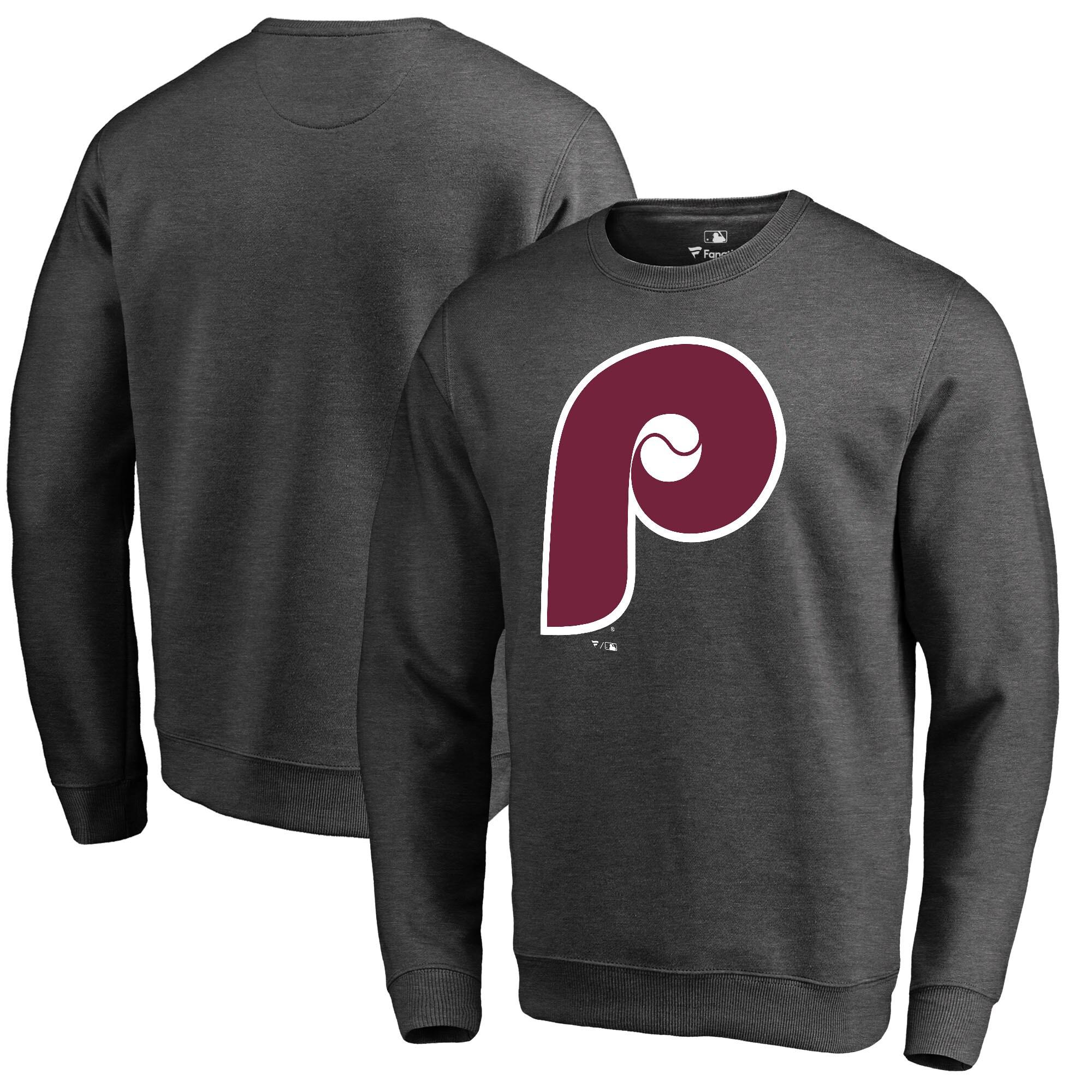 Philadelphia Phillies Fanatics Branded Cooperstown Collection Huntington Sweatshirt - Heathered Gray