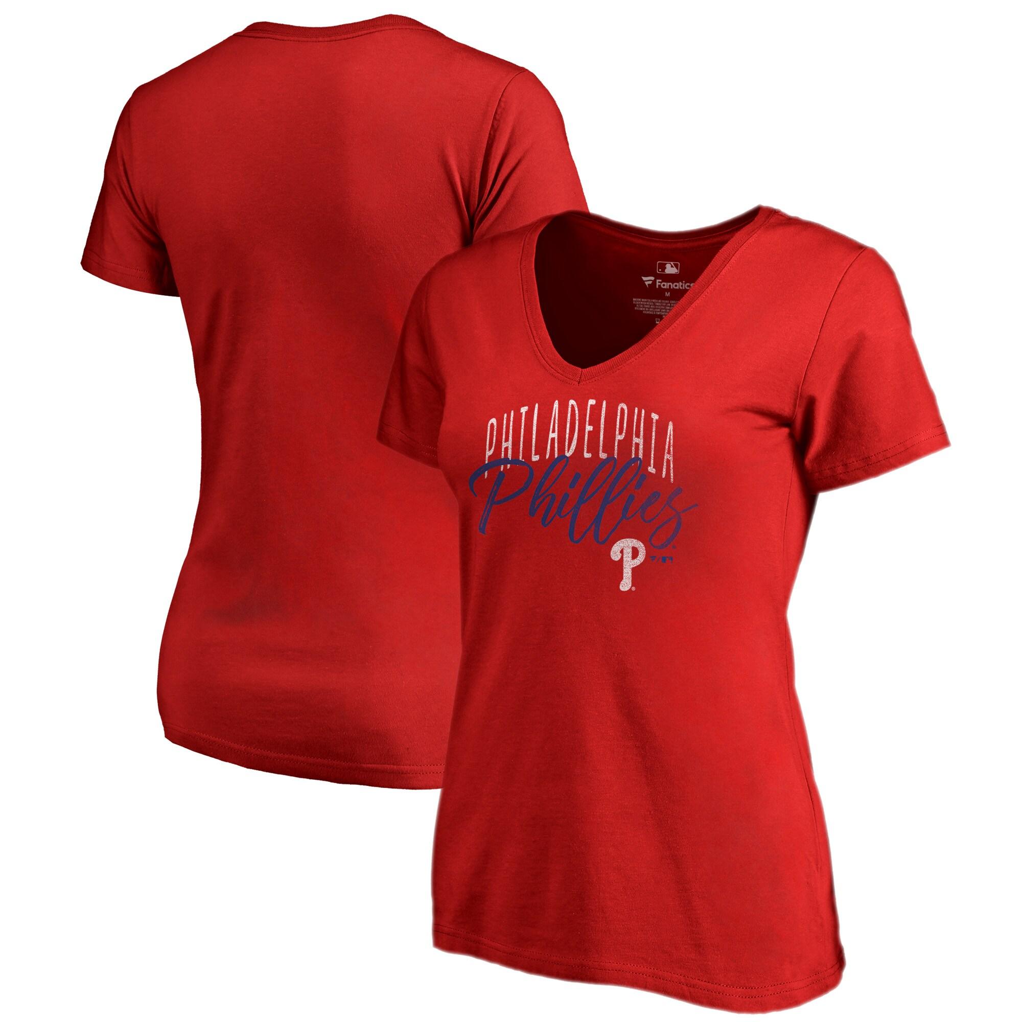 Philadelphia Phillies Fanatics Branded Women's Plus Size Graceful V-Neck T-Shirt - Red