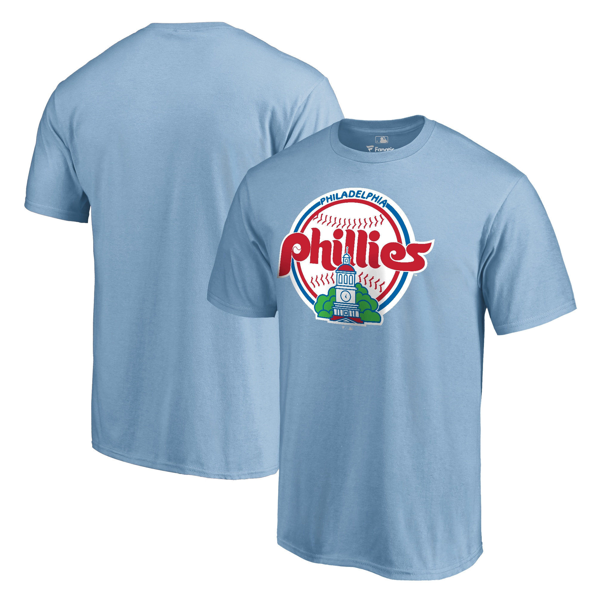 Philadelphia Phillies Fanatics Branded Cooperstown Collection Forbes T-Shirt - Light Blue