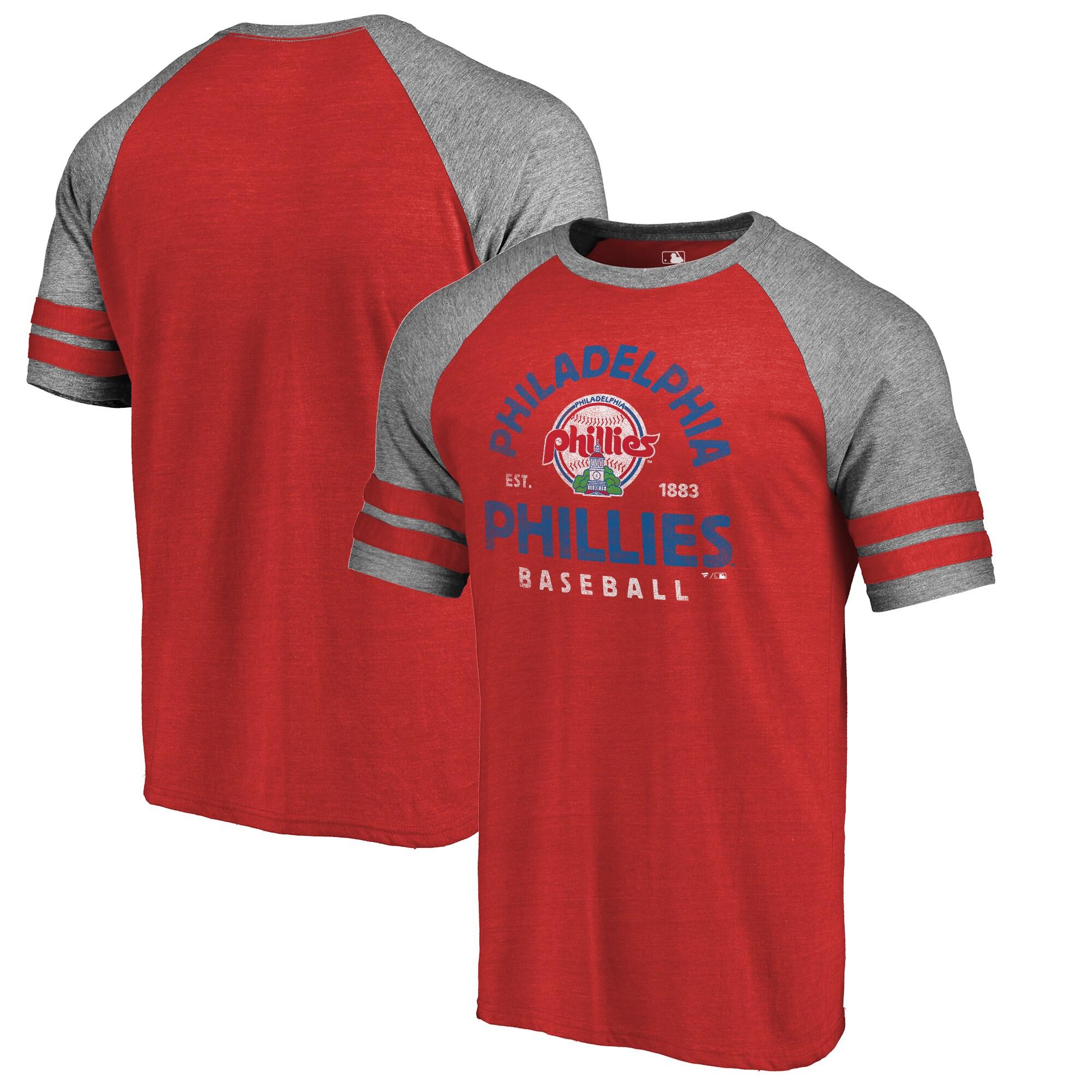 Philadelphia Phillies Fanatics Branded Vintage Arch 2-Stripe Tri-Blend Raglan T-Shirt - Red