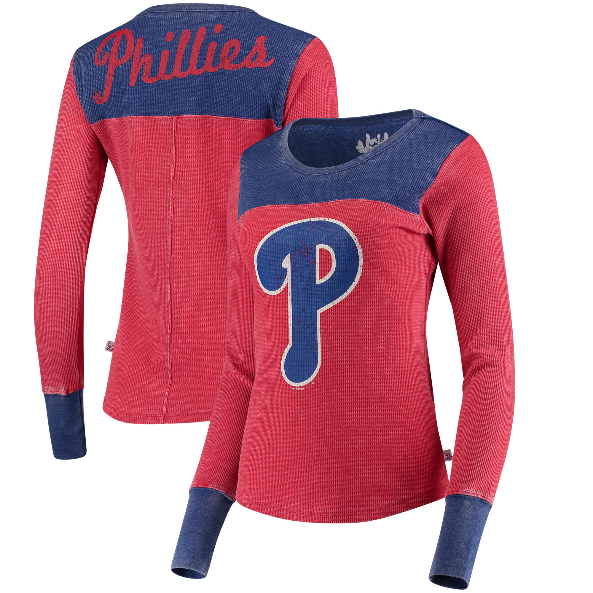 Philadelphia Phillies Touch by Alyssa Milano Women's Blindside Long Sleeve Thermal T-Shirt - Red/Royal