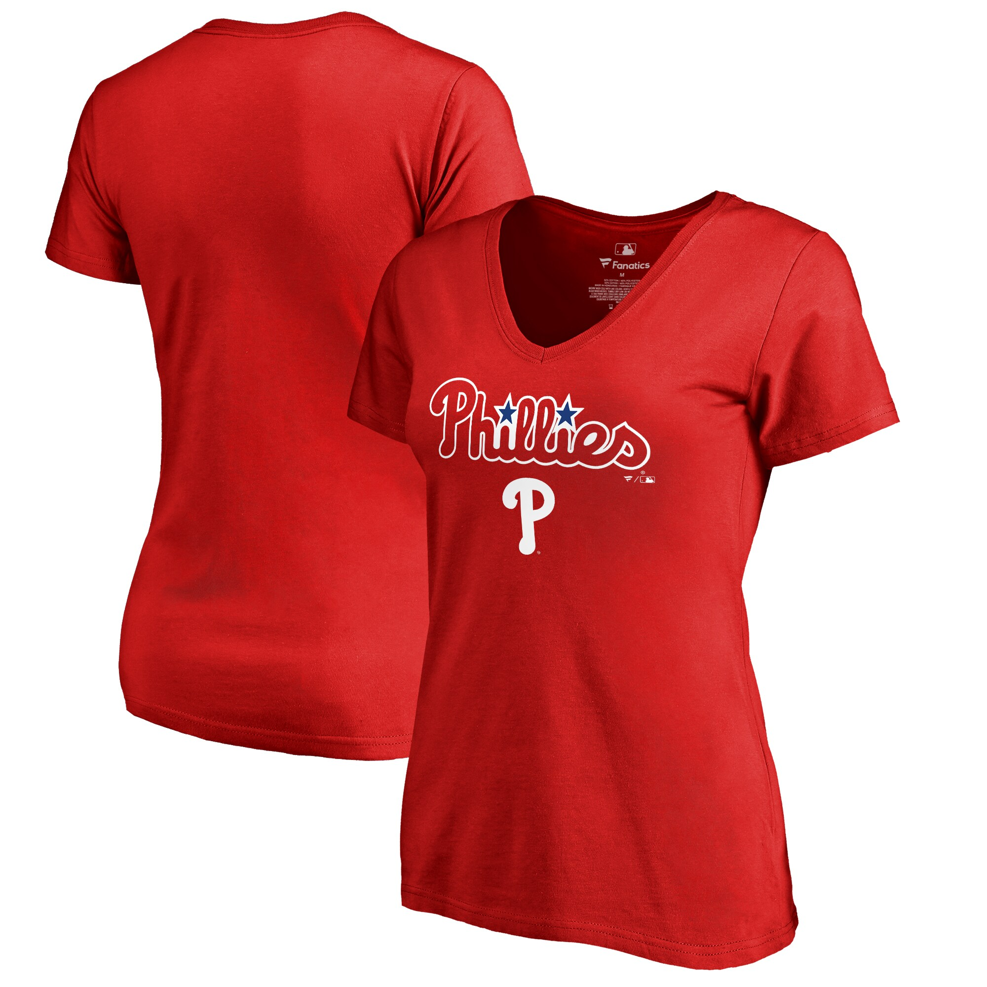 Philadelphia Phillies Fanatics Branded Women's Plus Sizes Team Lockup T-Shirt - Red