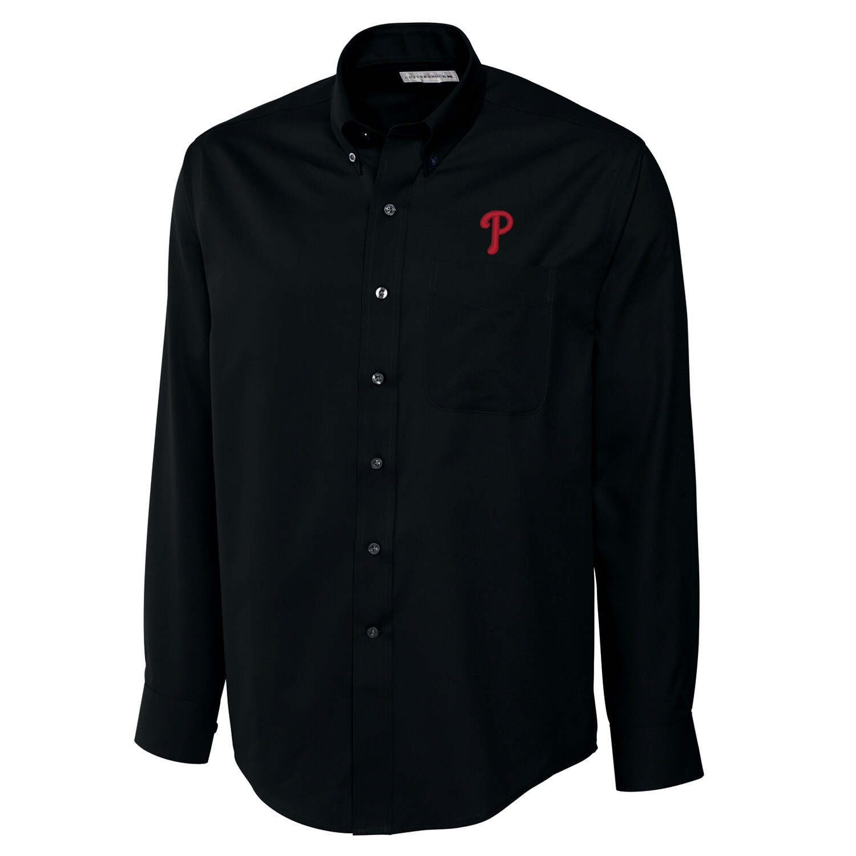 Philadelphia Phillies Cutter & Buck Big & Tall Epic Easy Care Fine Twill Long Sleeve Shirt - Black