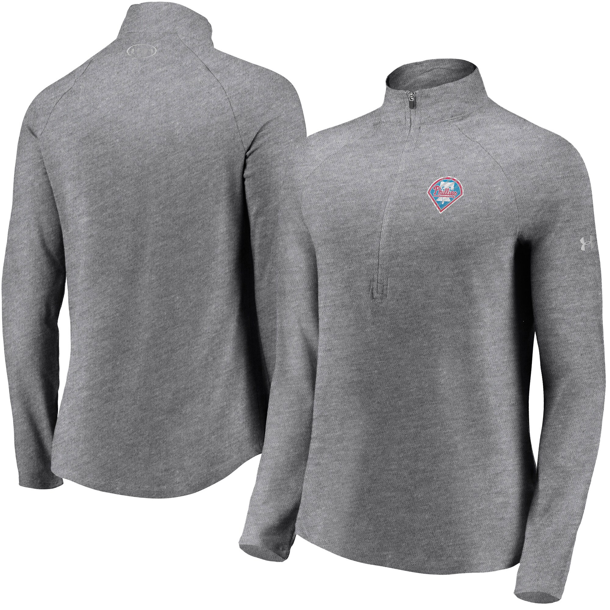Philadelphia Phillies Under Armour Women's Passion Alternate Performance Tri-Blend Raglan Half-Zip Pullover Jacket - Heathered Gray