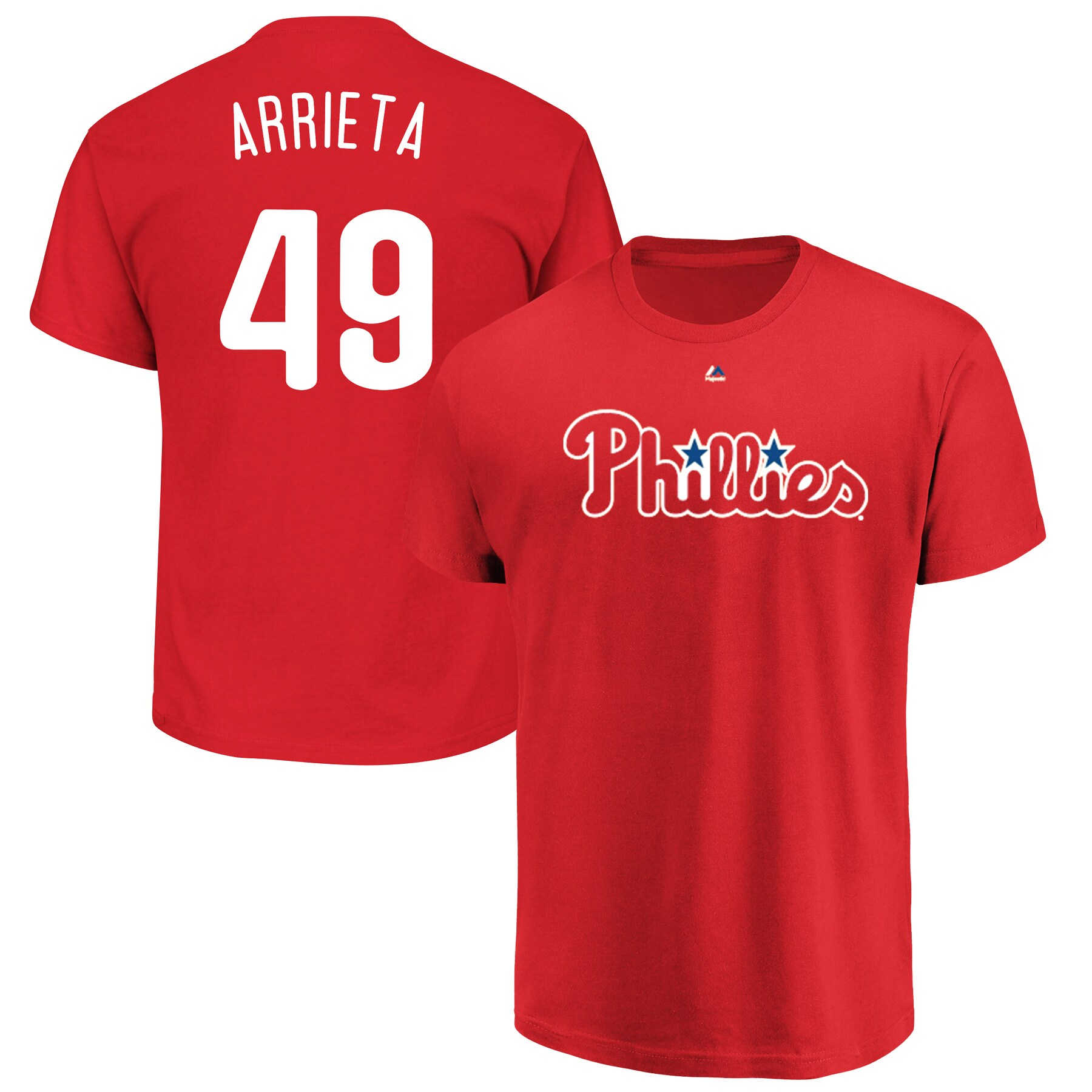 Jake Arrieta Philadelphia Phillies Majestic Official Name & Number T-Shirt - Red