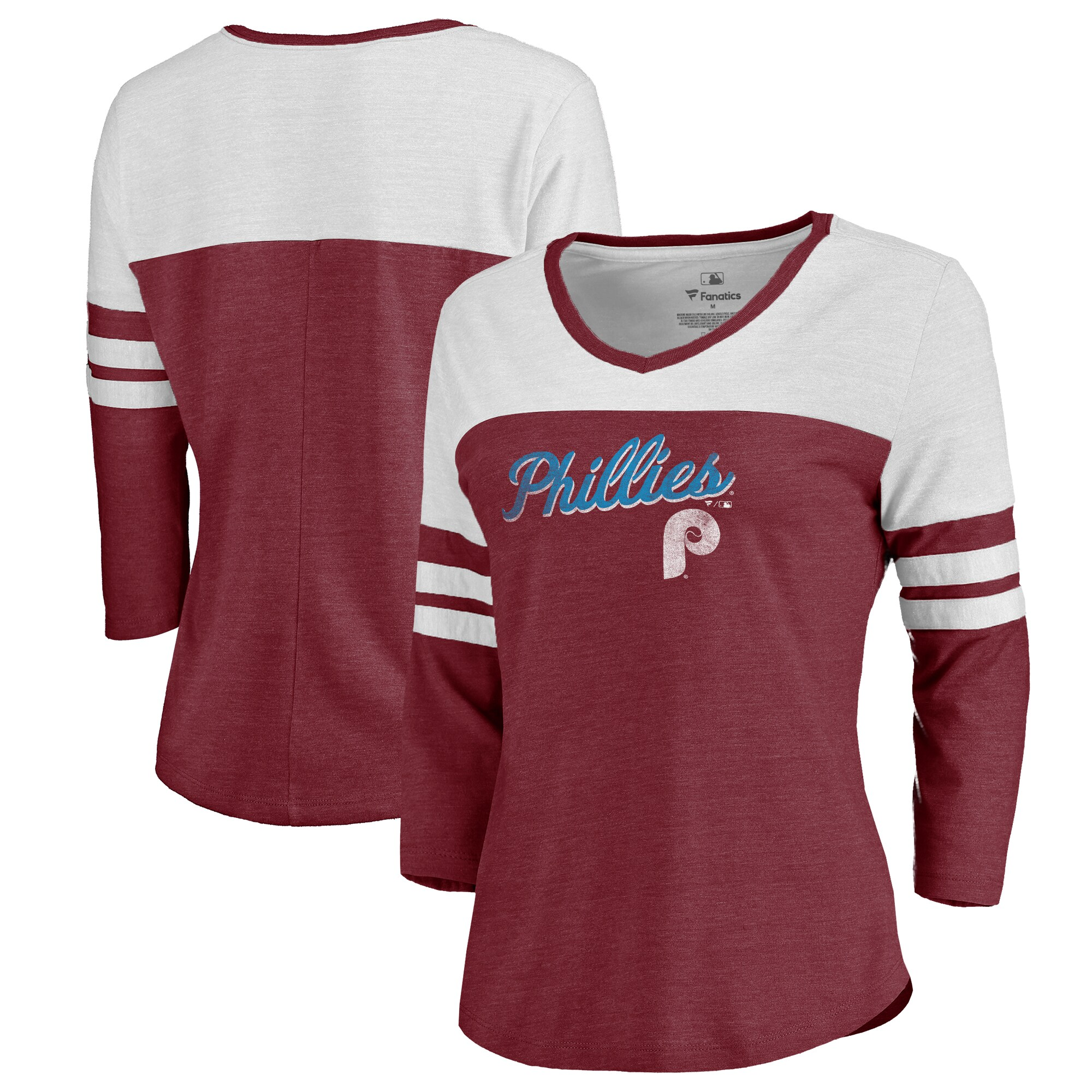 Fanatics Branded Philadelphia Phillies Women's Garnet Rising Script Color Block 3/4 Sleeve Tri-Blend T-Shirt