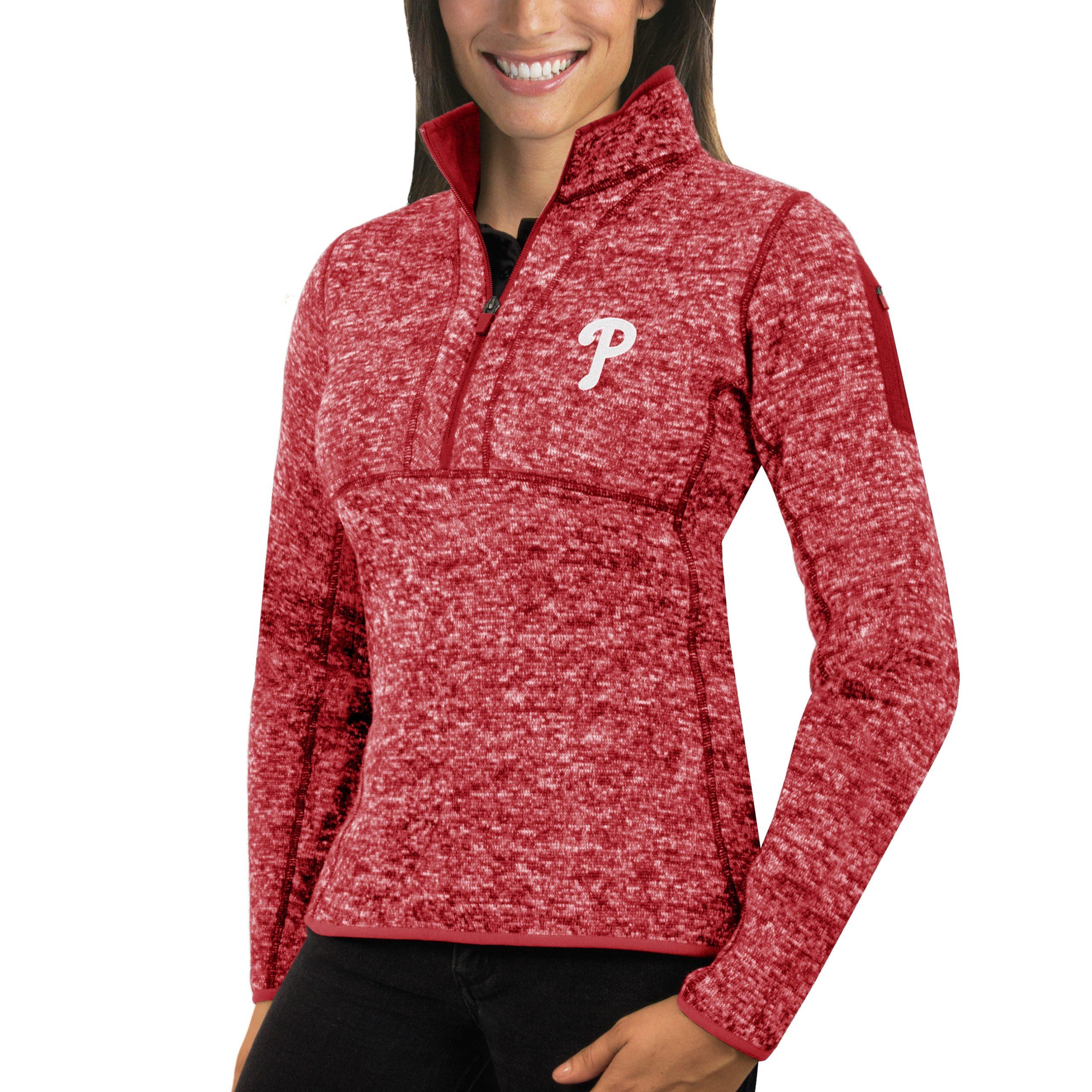 Philadelphia Phillies Antigua Women's Fortune Half-Zip Pullover Sweater - Heathered Red