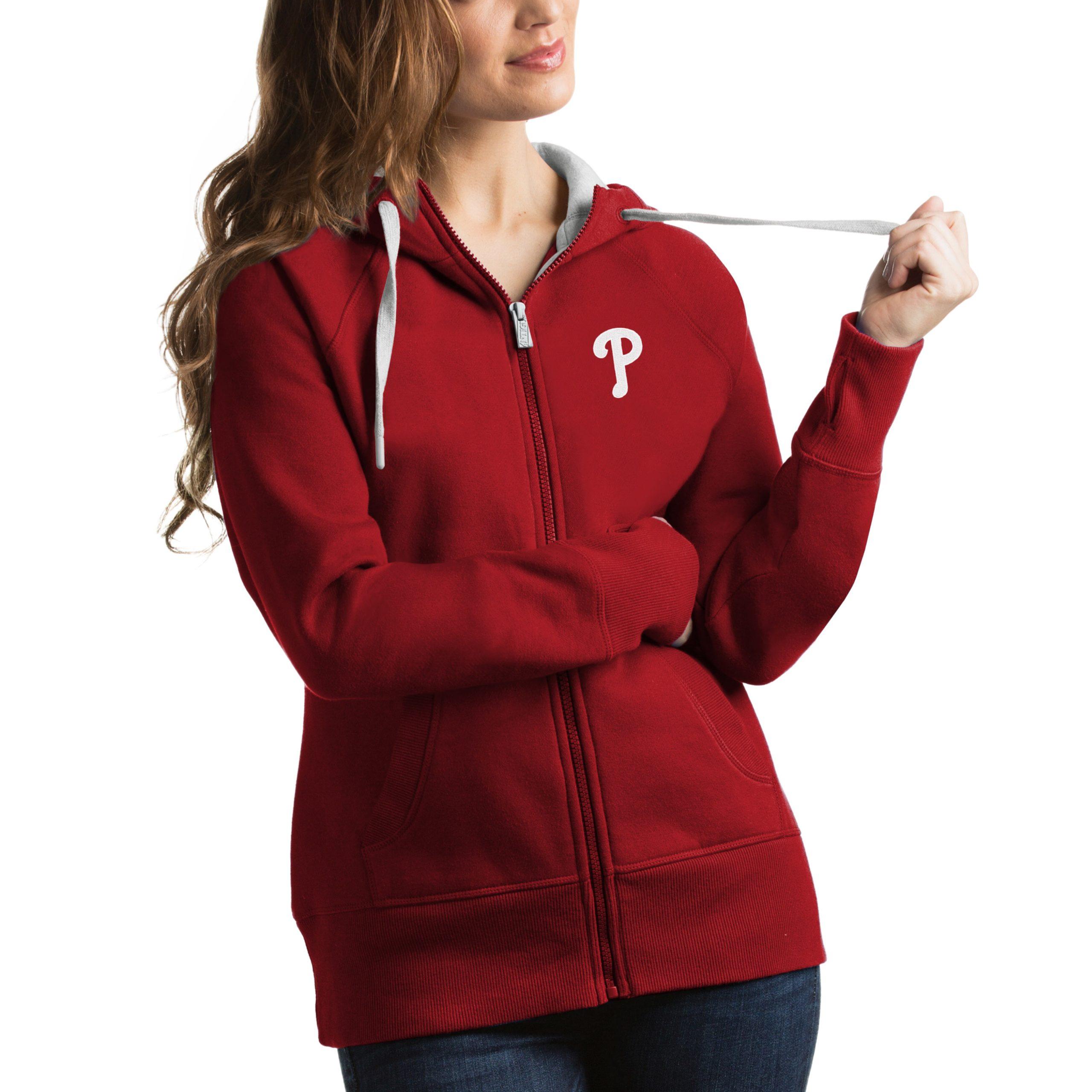 Philadelphia Phillies Antigua Women's Victory Full-Zip Hoodie - Red