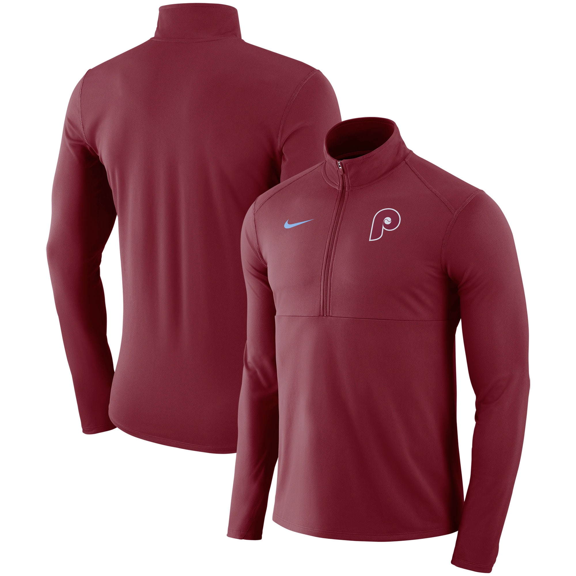 Philadelphia Phillies Nike Dry Element Half-Zip Performance Pullover - Maroon