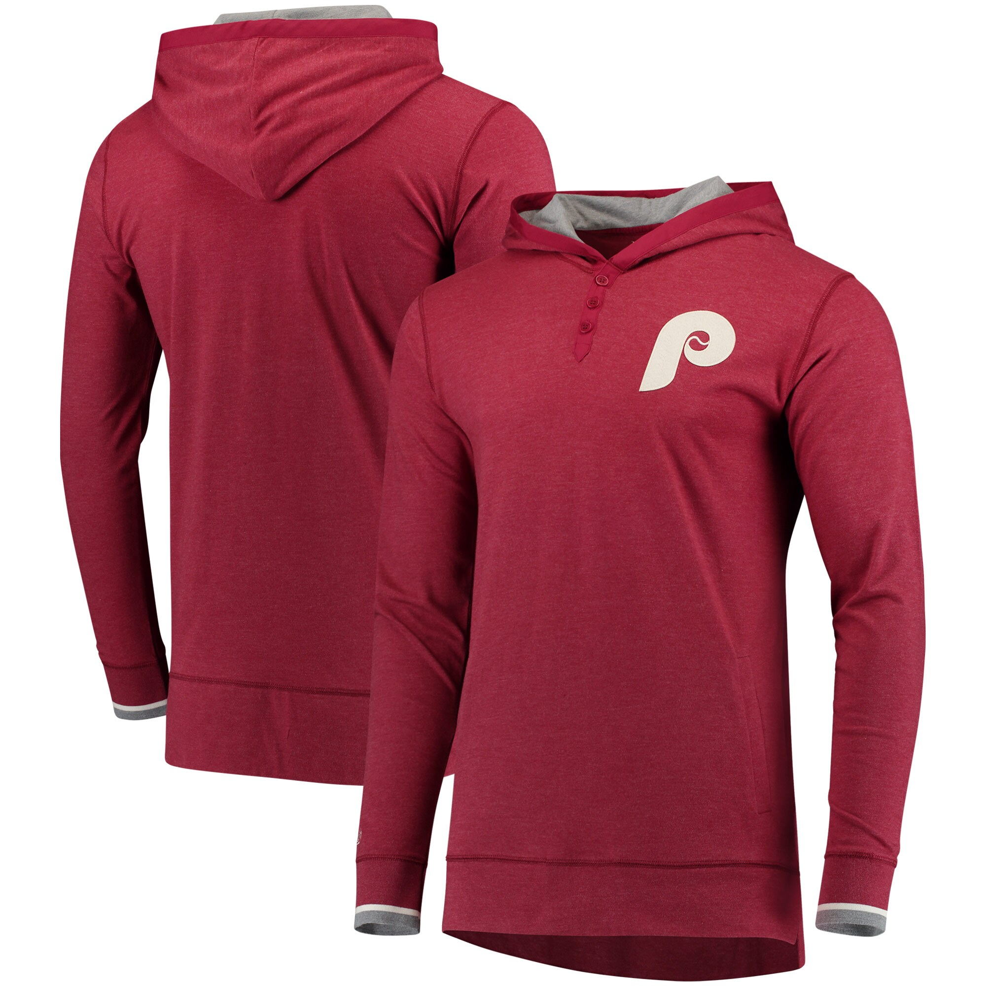 Philadelphia Phillies Mitchell & Ness Seal The Win Long Sleeve Hoodie T-Shirt - Maroon