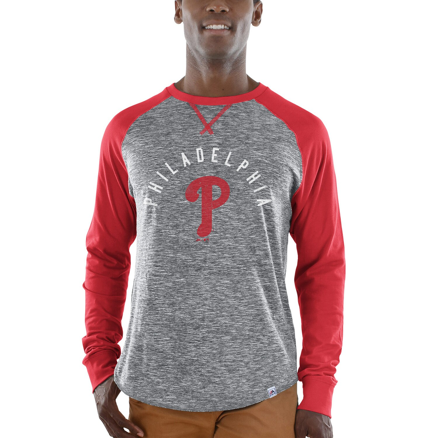 Philadelphia Phillies Majestic Special Move Long Sleeve T-Shirt - Gray/Red