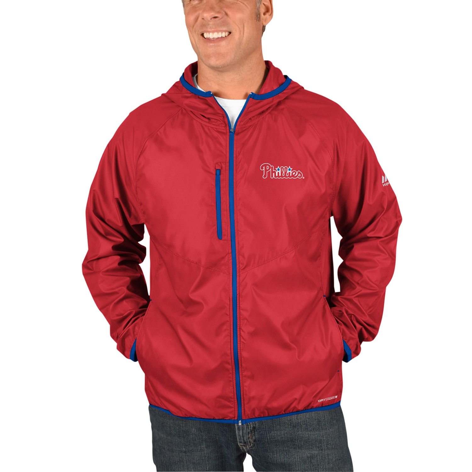 Philadelphia Phillies Majestic Strong Will Dry Base Full-Zip Hooded Jacket - Red