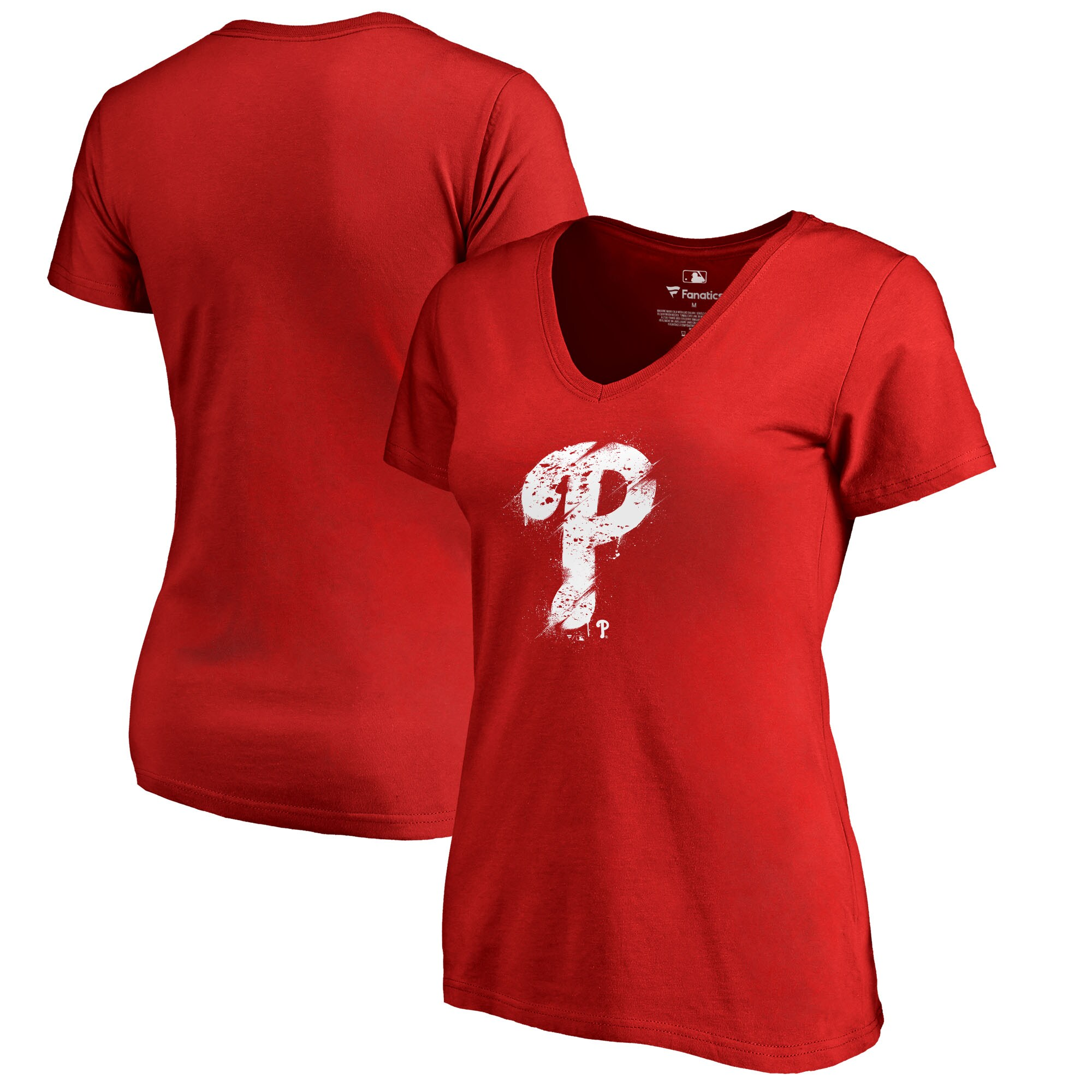 Philadelphia Phillies Fanatics Branded Women's Splatter Logo Plus Size V-Neck T-Shirt - Red