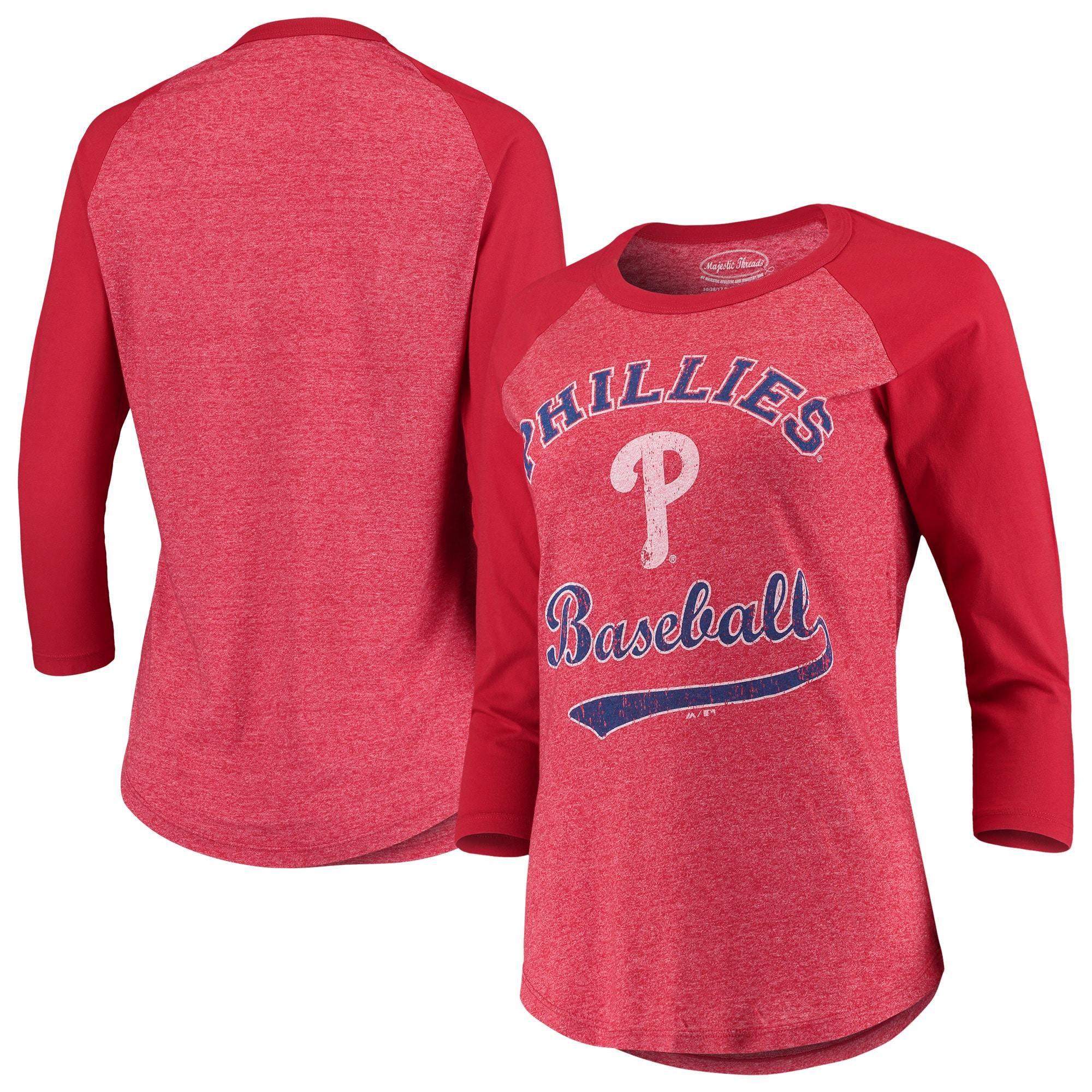 Philadelphia Phillies Majestic Threads Women's Team Baseball Three-Quarter Raglan Sleeve Tri-Blend T-Shirt - Red