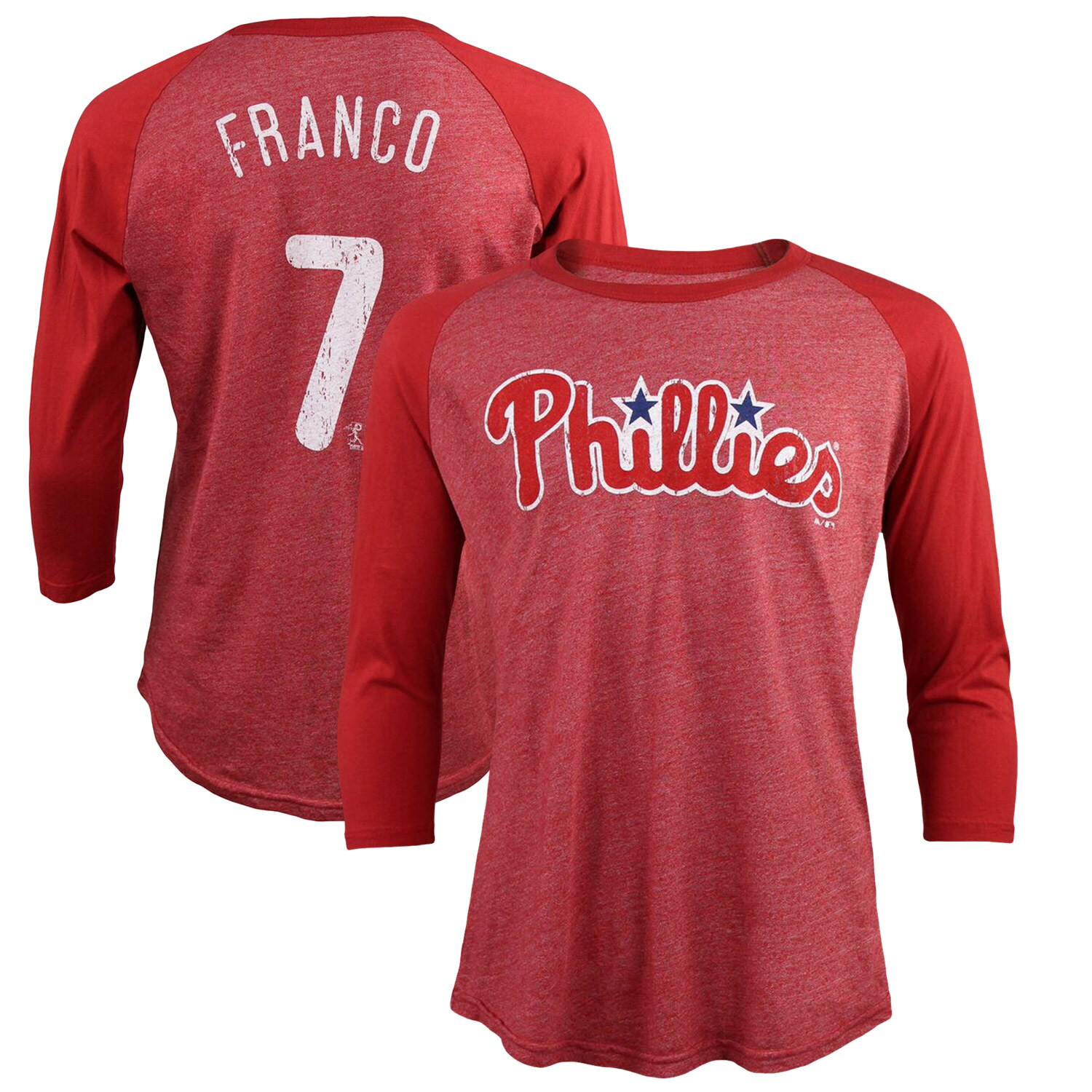 Maikel Franco Philadelphia Phillies Majestic Threads Tri-Blend 3/4-Sleeve Raglan Name & Number T-Shirt - Red
