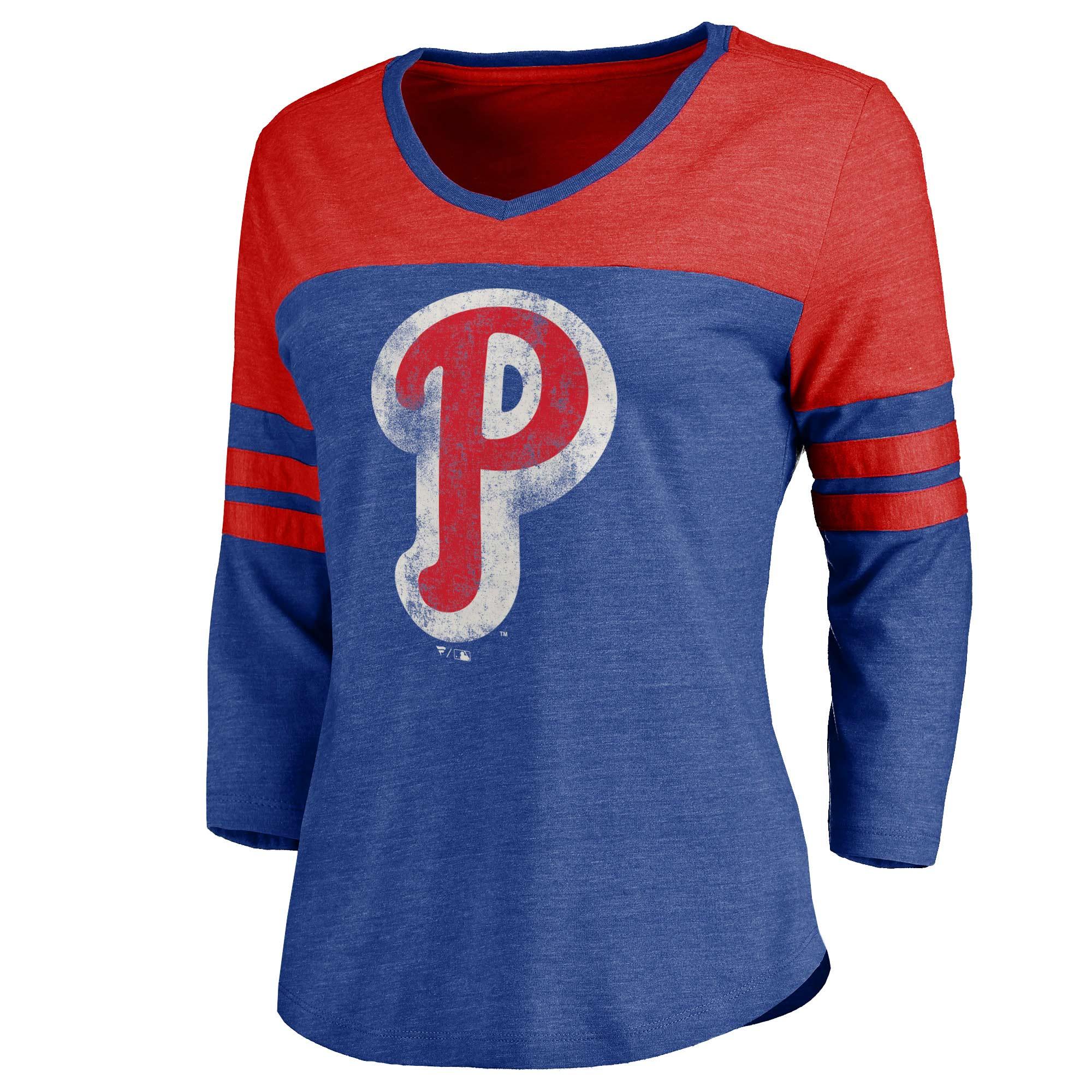 Philadelphia Phillies Women's Cooperstown Two Tone Three-Quarter Sleeve Tri-Blend T-Shirt - Royal/Red