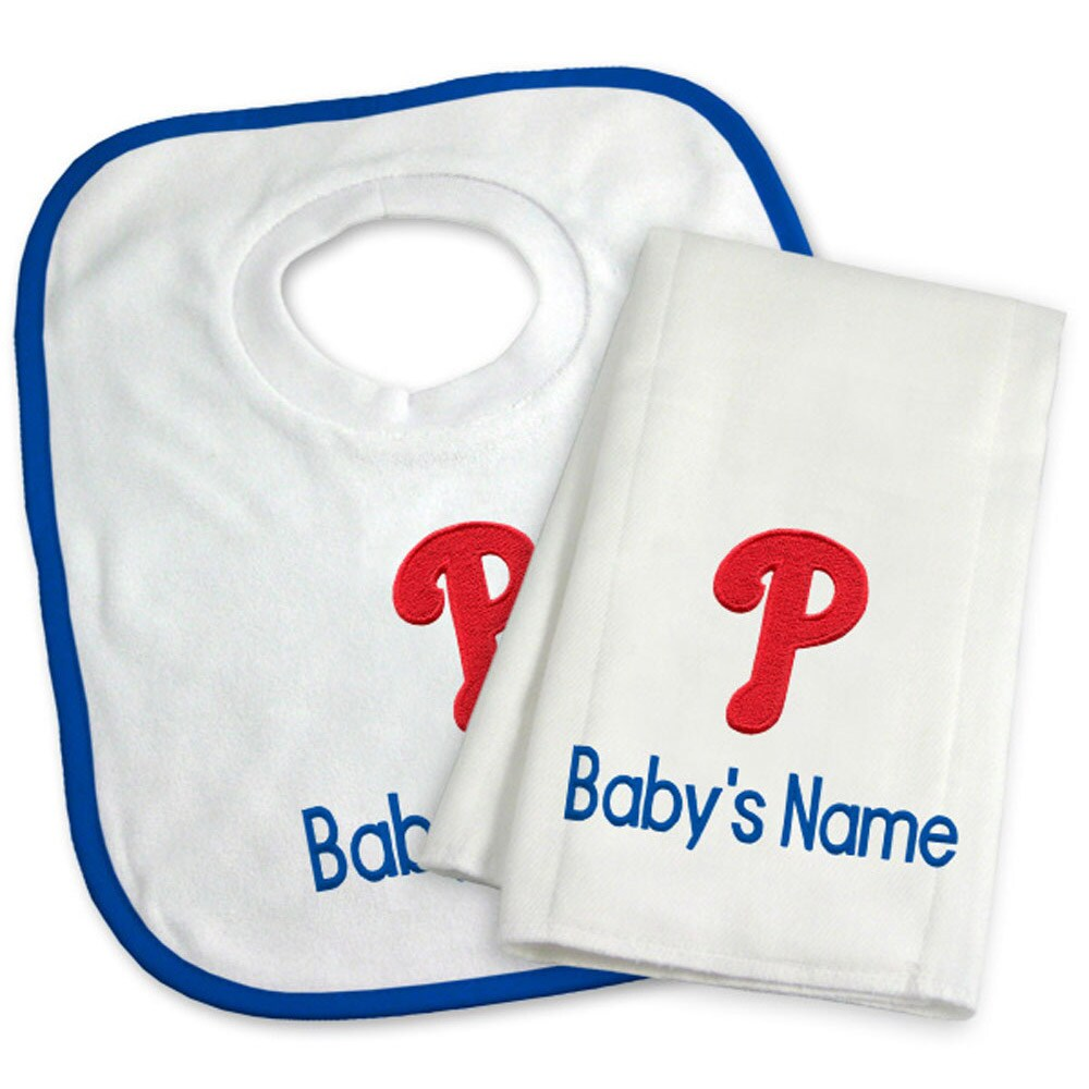Philadelphia Phillies Newborn & Infant Personalized Bib & Burp Cloth Set - White