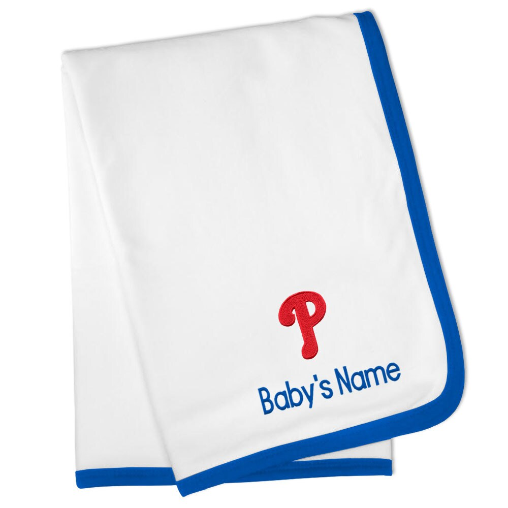 Philadelphia Phillies Personalized Baby Blanket - White
