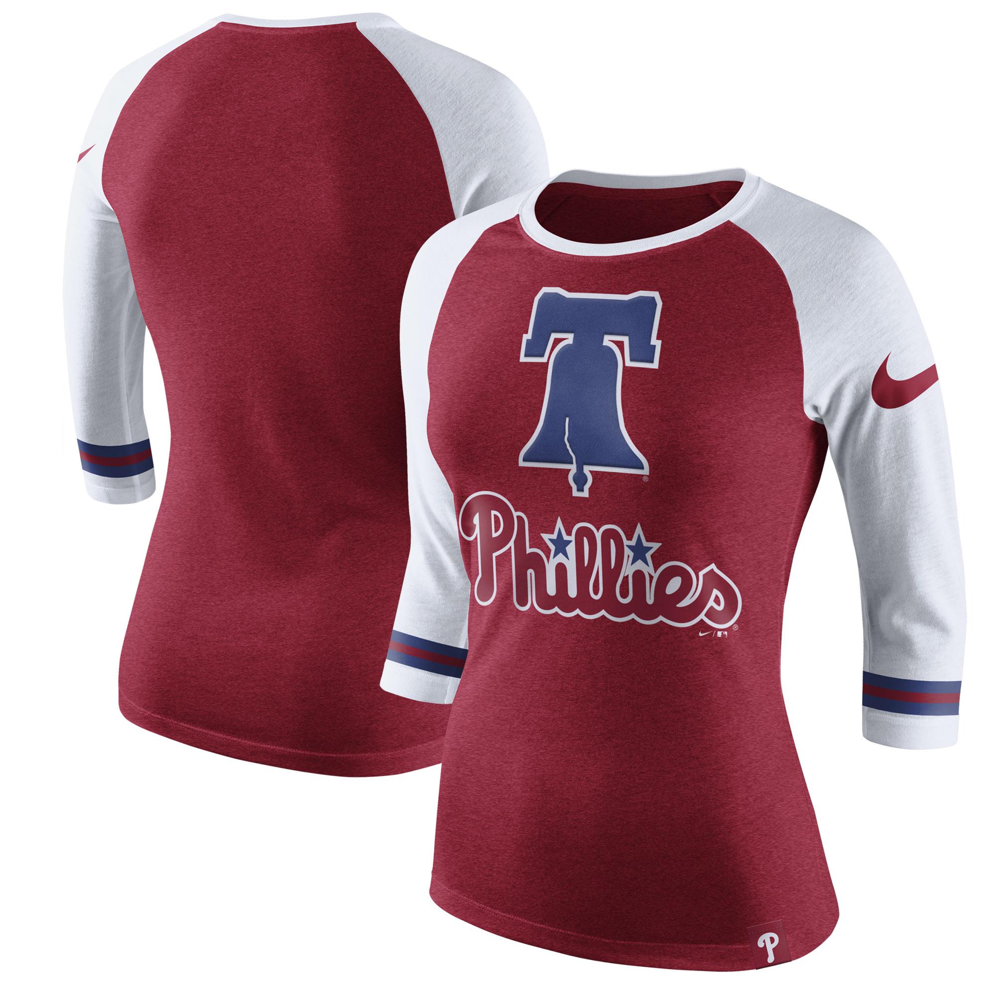Philadelphia Phillies Nike Women's Tri-Blend 3/4-Sleeve Raglan T-Shirt - Heathered Red
