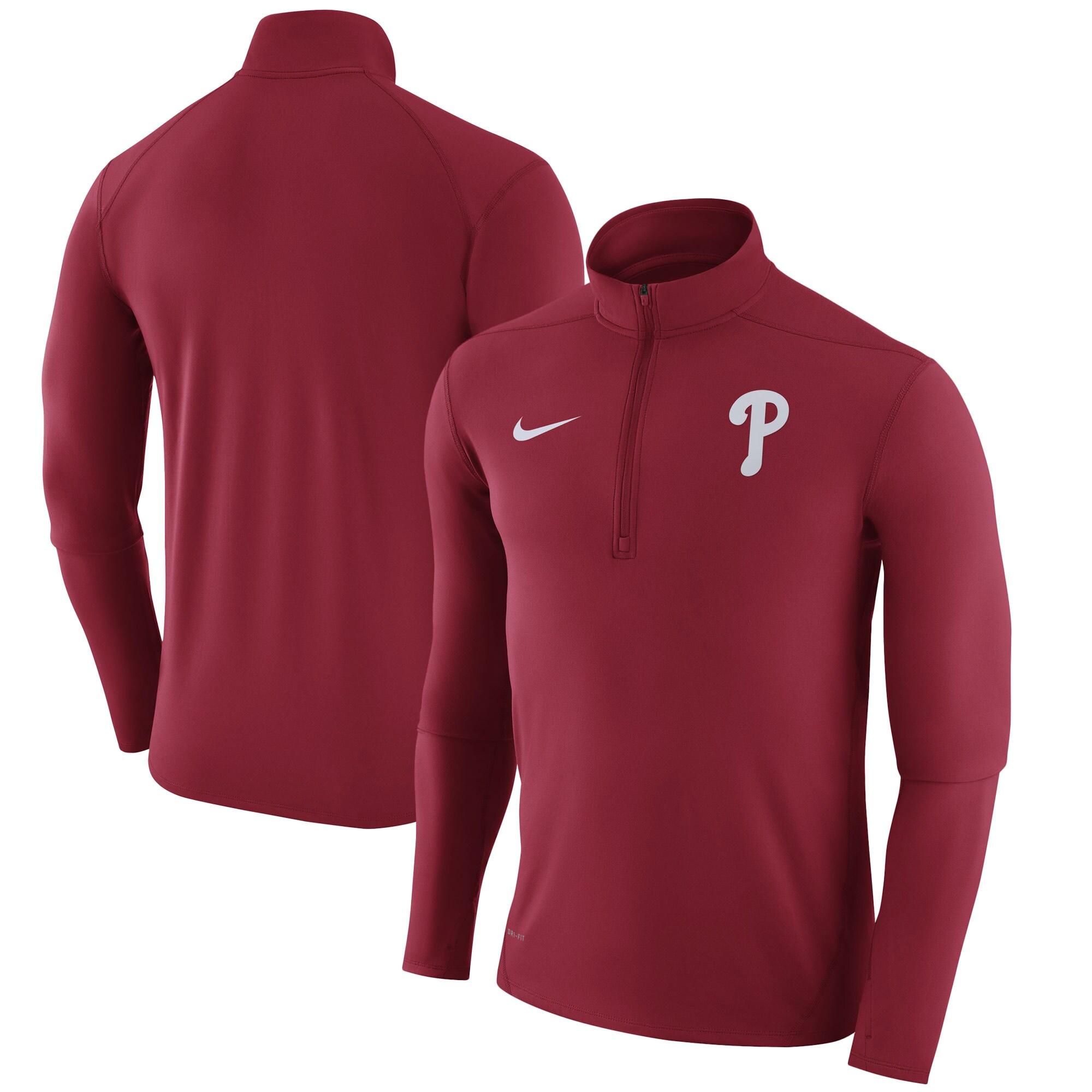 Philadelphia Phillies Nike Element Half-Zip Performance Top - Red