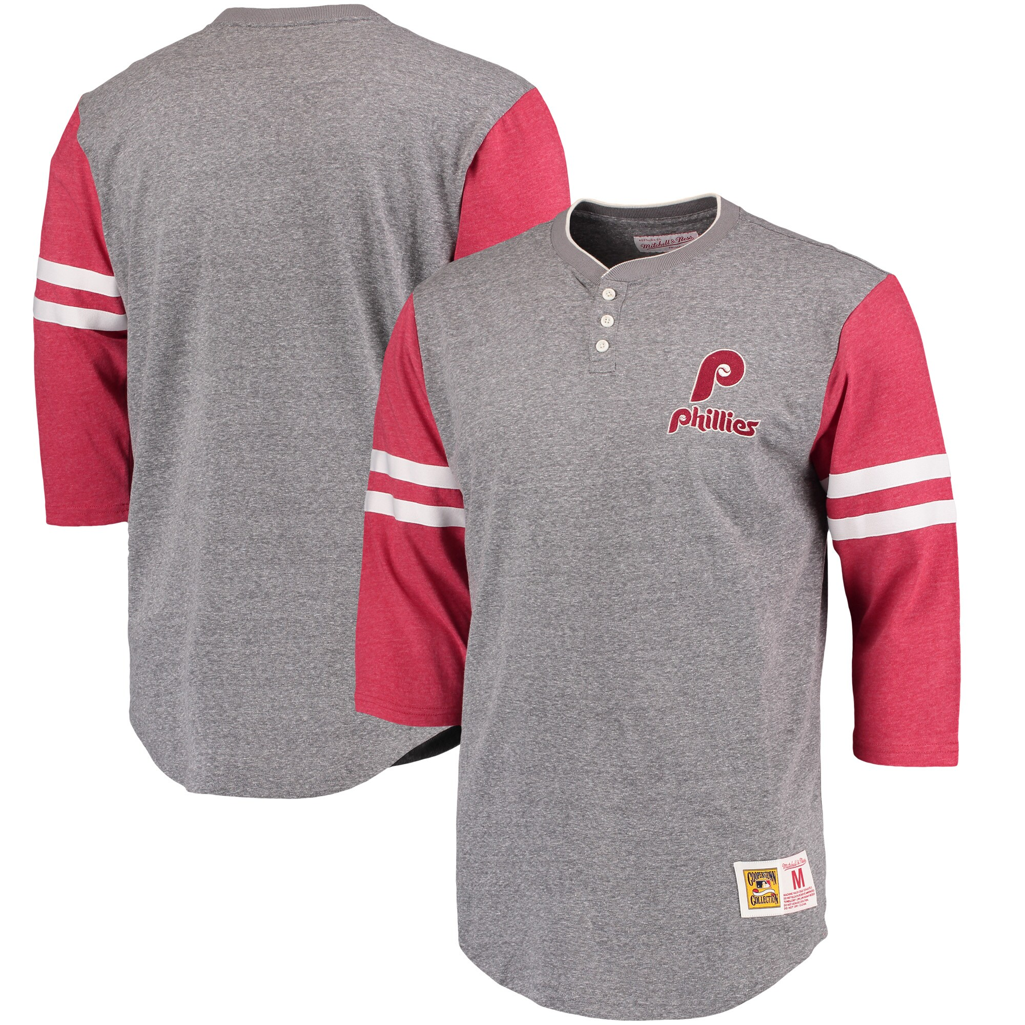 Philadelphia Phillies Mitchell & Ness Home Stretch 3/4-Sleeve Henley T-Shirt - Gray/Red