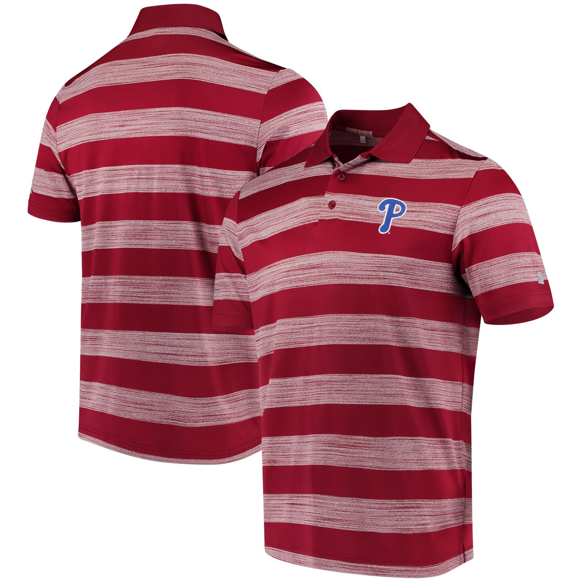 Philadelphia Phillies Under Armour Skyball Tonal Stripe Polo - Cardinal