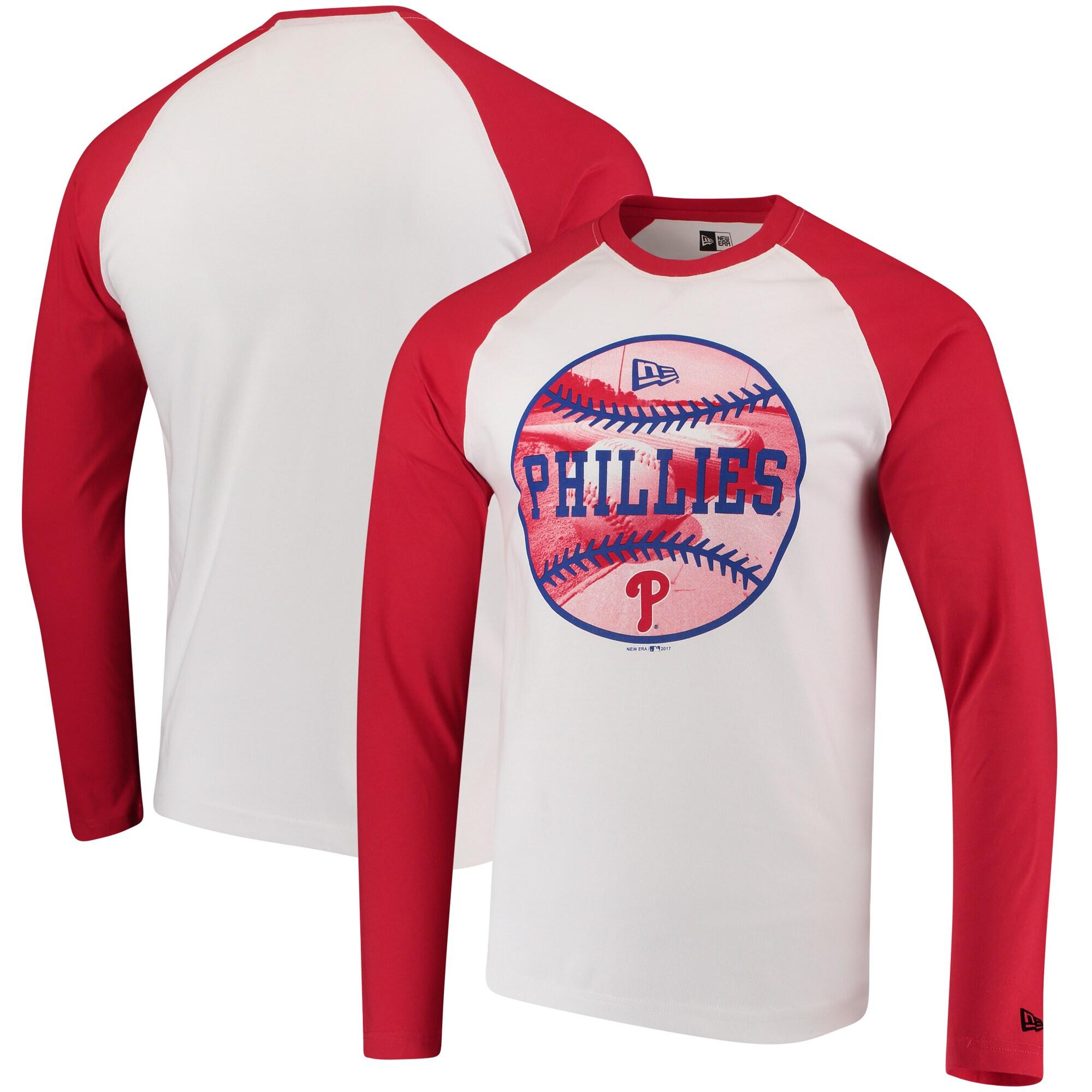 Philadelphia Phillies New Era Raglan Long Sleeve T-Shirt - White/Red