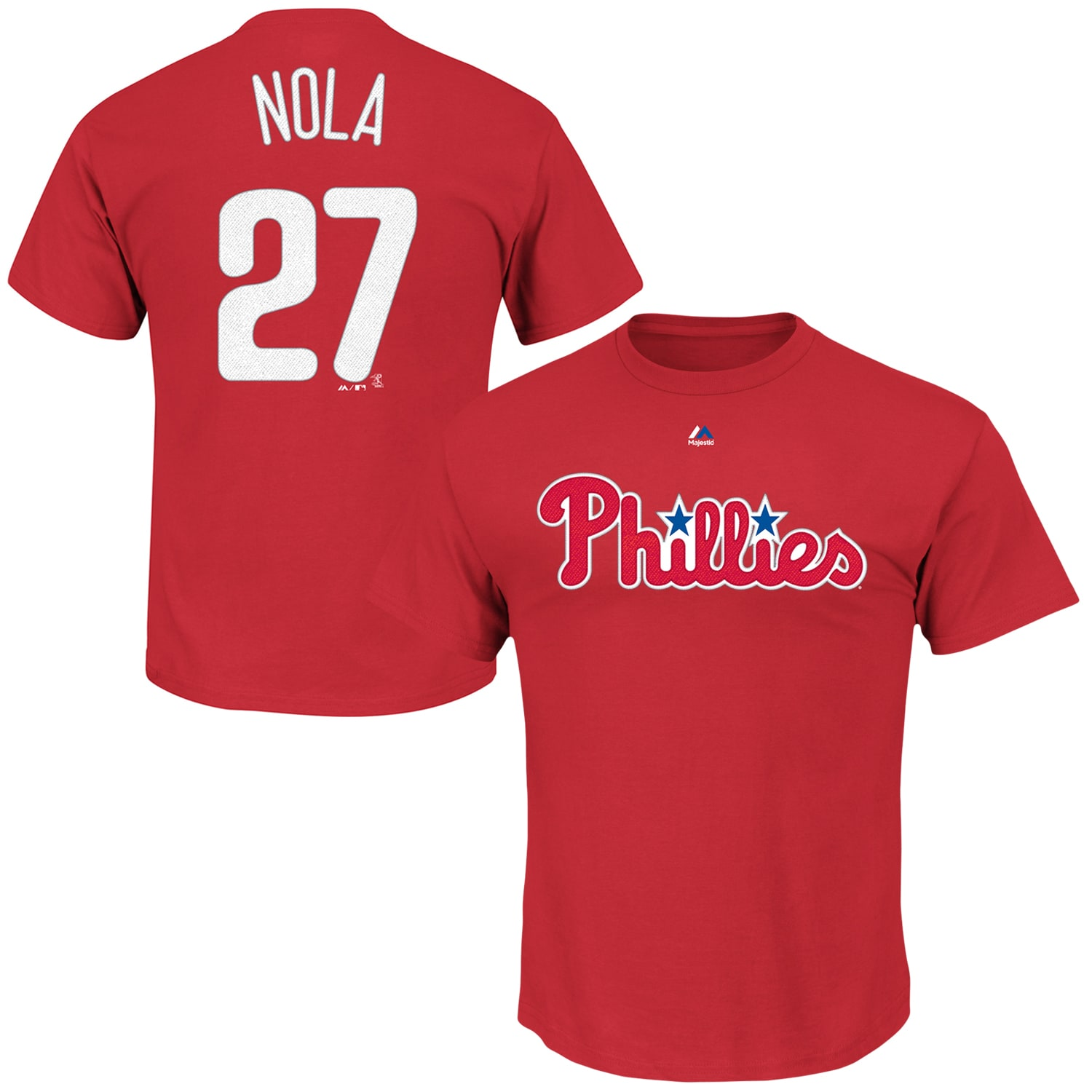Aaron Nola Philadelphia Phillies Majestic Official Name and Number T-Shirt - Red